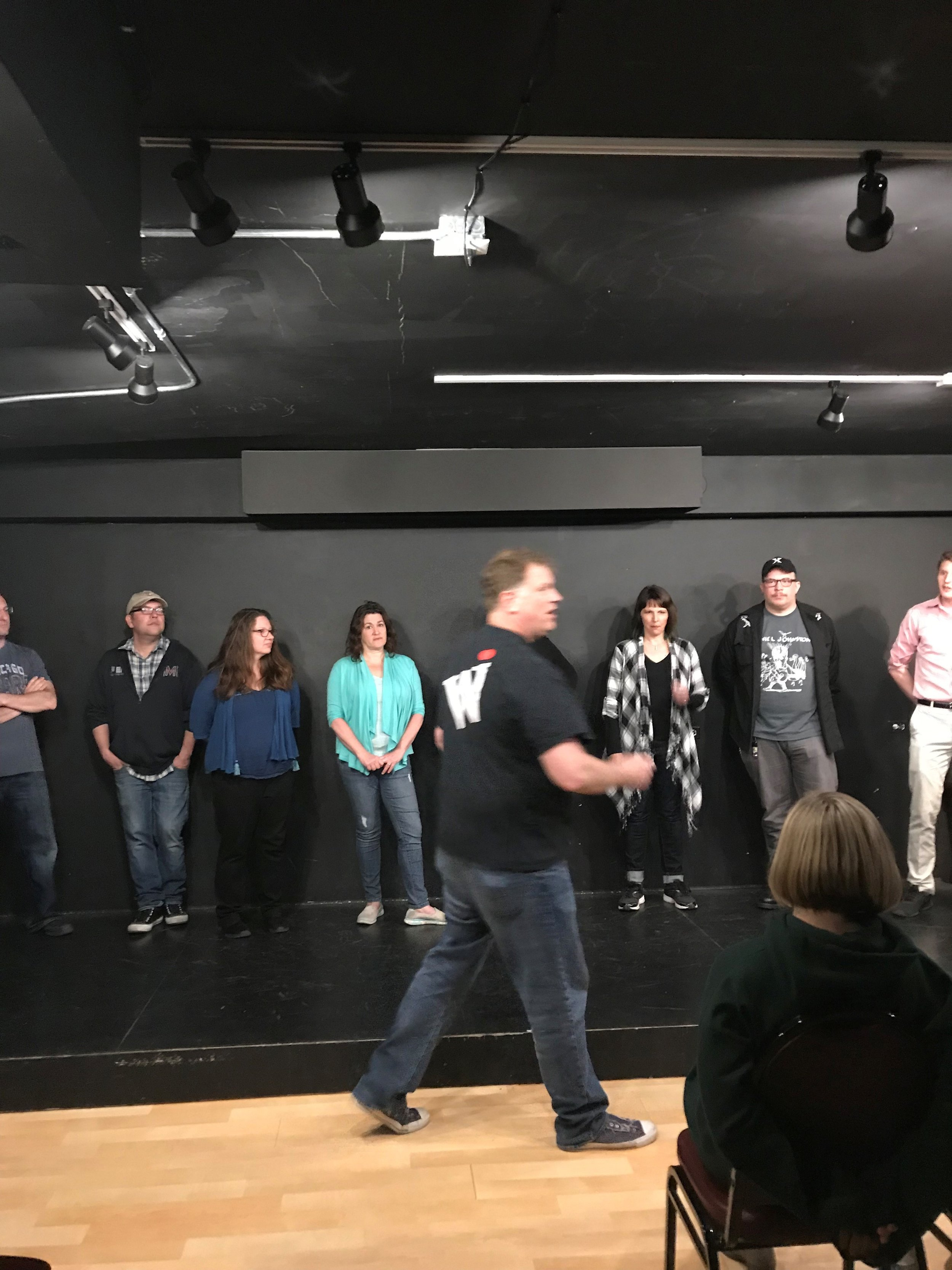 Westside Improv founder Jeff Ash coaches students during a class at the theater space in downtown Wheaton.