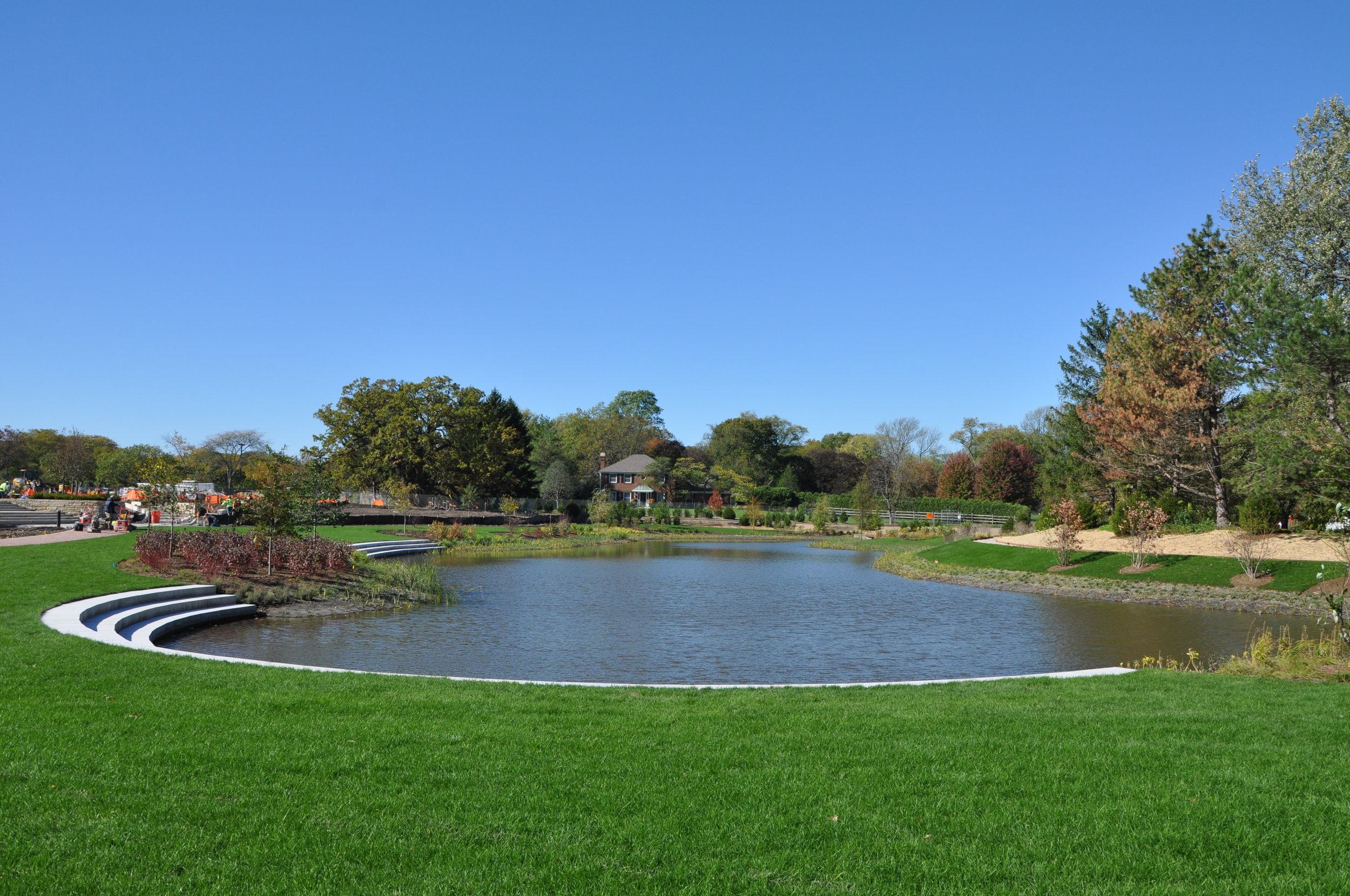 Cantigny's redesigned pond garden now includes access to the water's edge and a walking bridge (photo courtesy of Jeff Reiter/Cantigny)