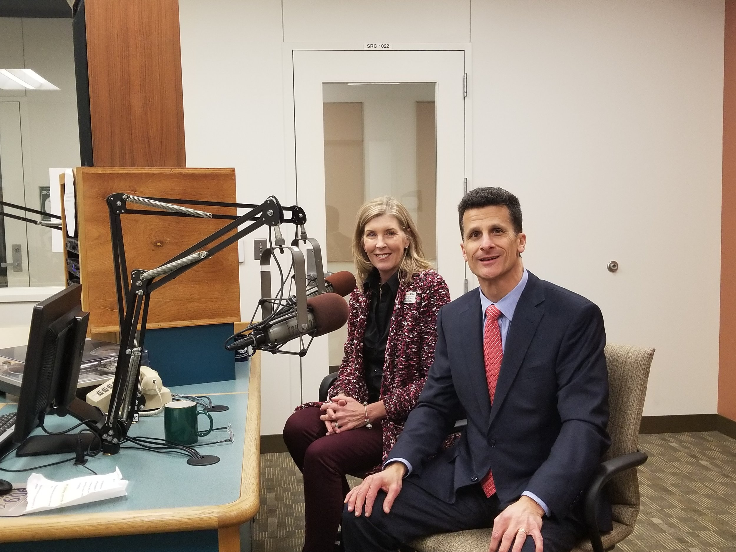 Loaves & Fishes CEO Mike Havala (right) and Director of Corporate & Volunteer Engagement Shelly Schmitz visited the WDCB studios to talk with Doing Good segment host Gary Zidek.