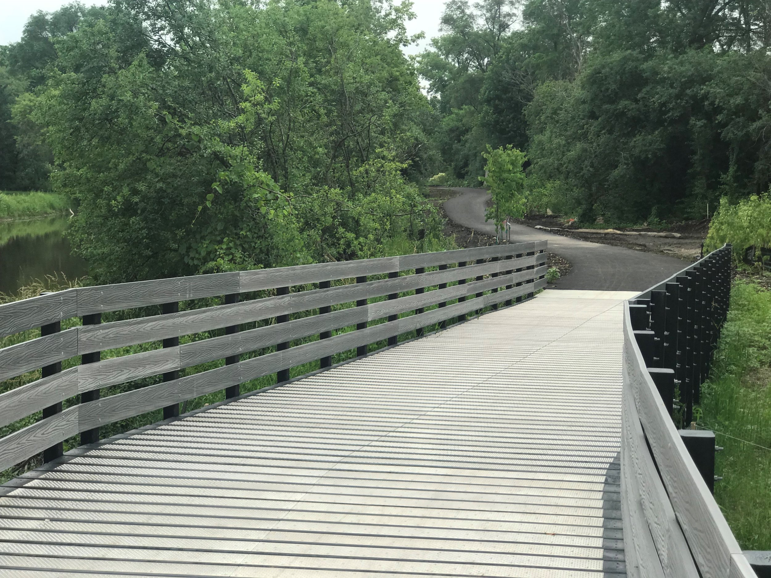 Looking north from a boardwalk bridge on the new section of West Branch of The DuPage River Trail