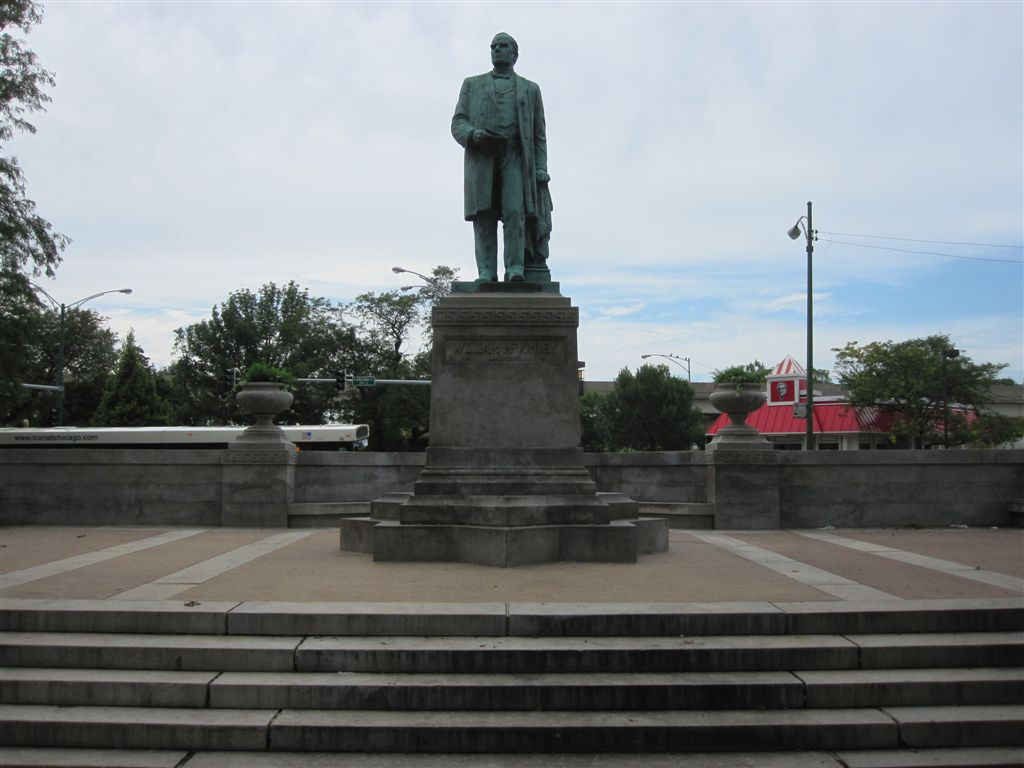 The plaza and statue of President William McKinley serve as a focal point for McKinley Park, Chicago's first neighborhood park.