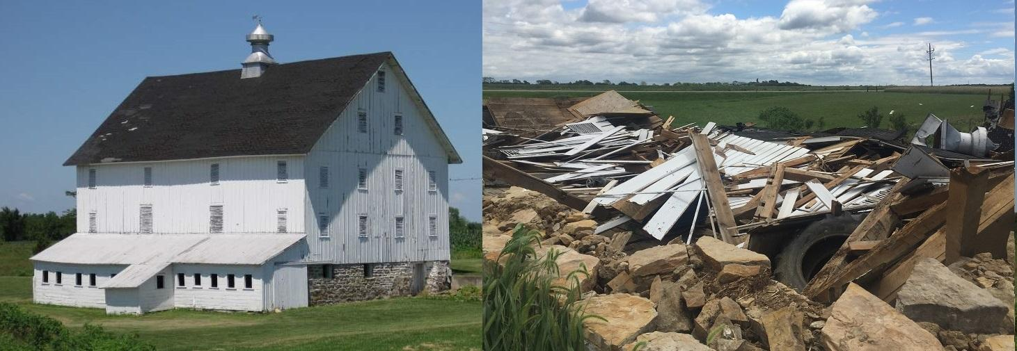 Galloway Barn, before and after a July 19th storm in eastern Iowa (photo courtesy of Jason Parrot)