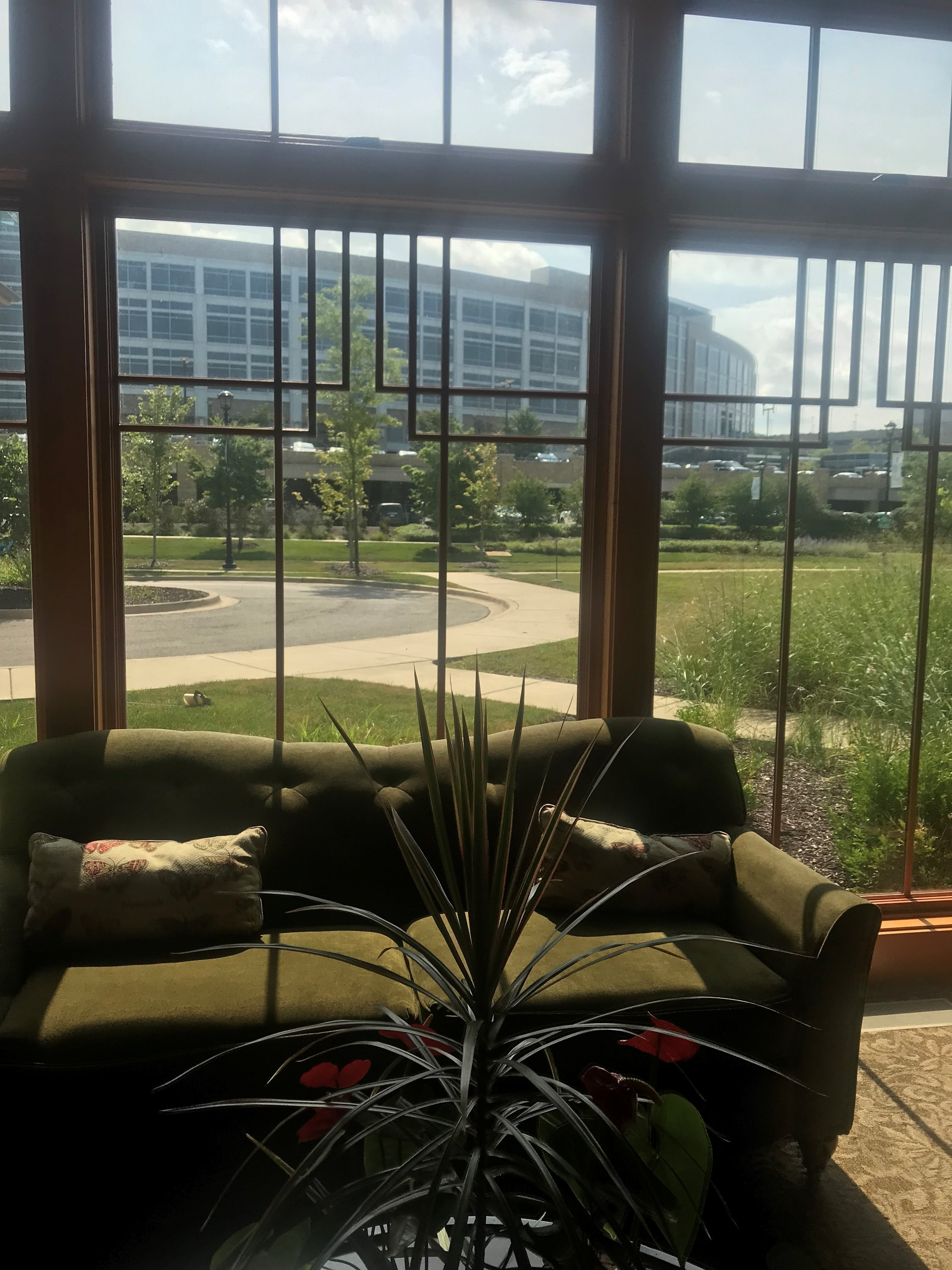 Central DuPage Hospital is visible through the windows of the Ronald McDonald House's great room