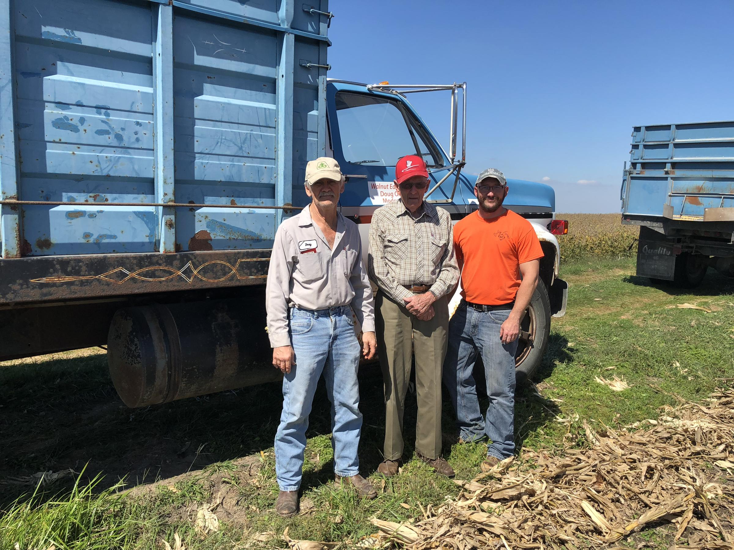 Three generations of Oxley farmers, 87 year old Gary Oxley (center) has been farming in Illinois for more than 70 years.