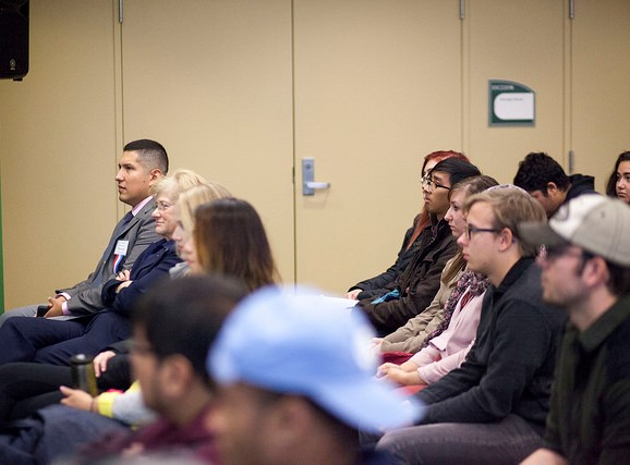 Members of the College of DuPage community listened to readers during the 2017 Veterans Day Read-In