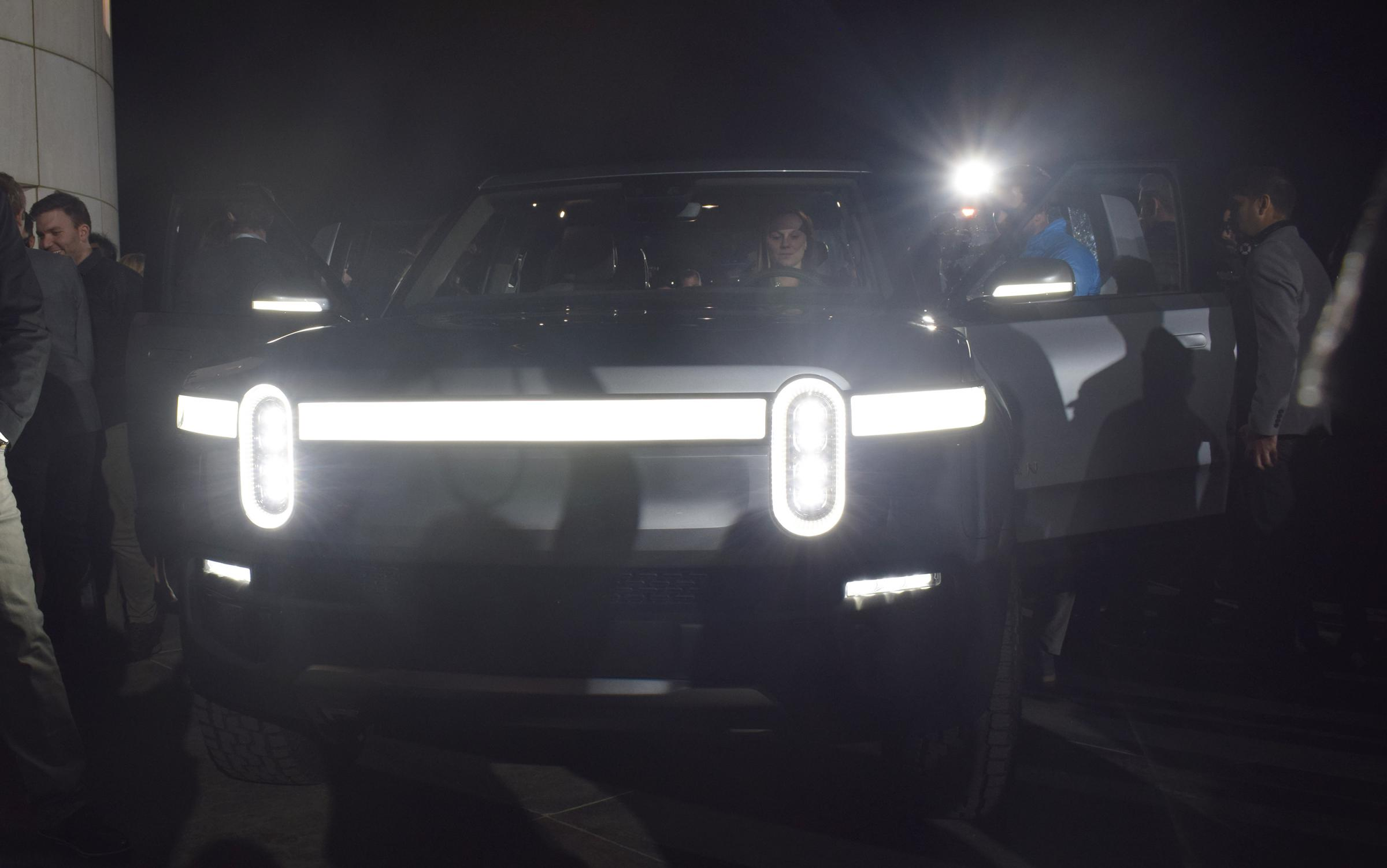 The signature front light bar of the Rivian R1T pickup truck (photo courtesy of Ryan Denham/WGLT)