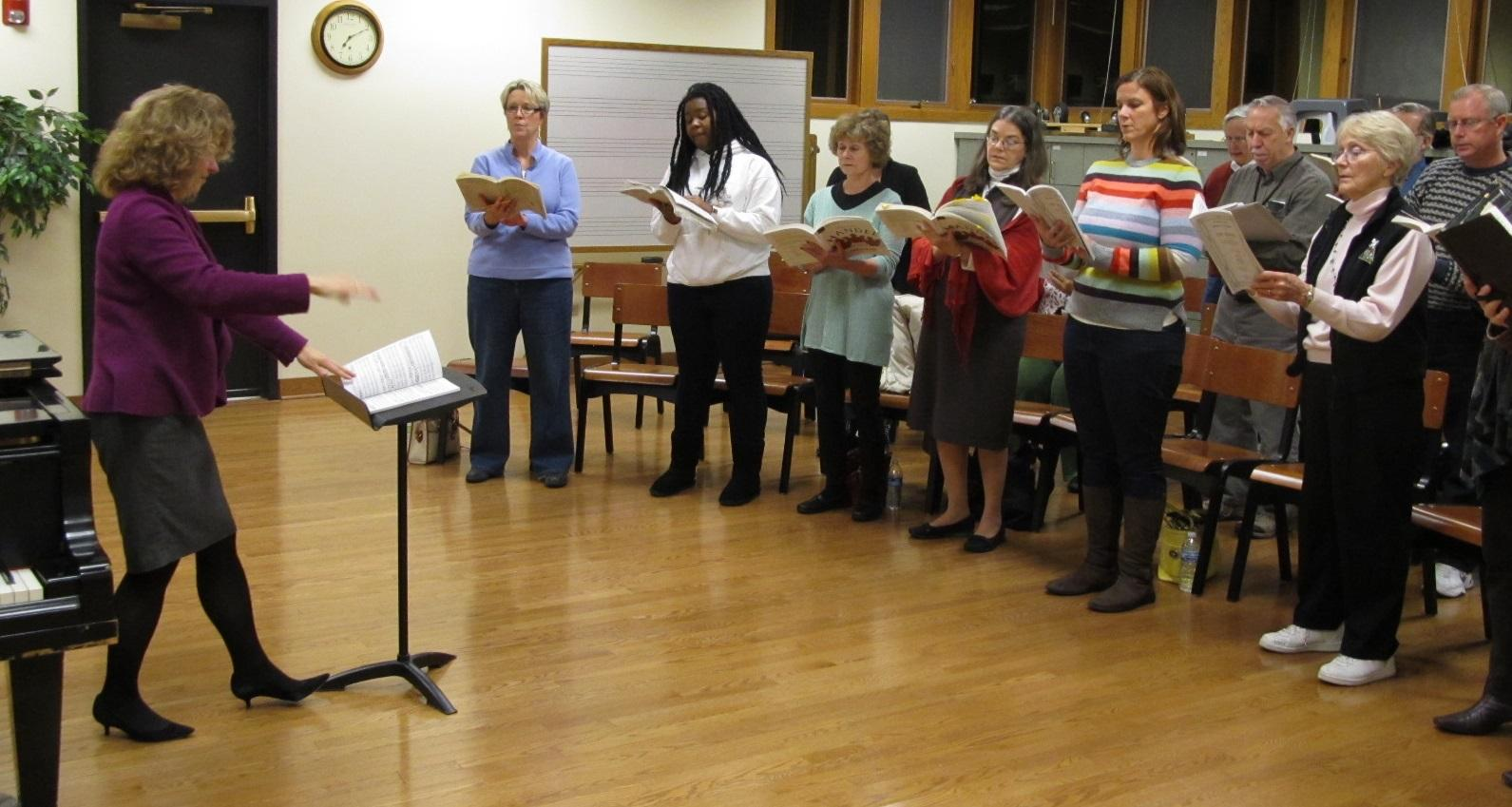 Fox Valley Orchestra Chorus Director Lisa Fredenburgh leads a practice in preparation for the organization's annual 'Sing-a-long Messiah' (photo courtesy of Guy Stephens)