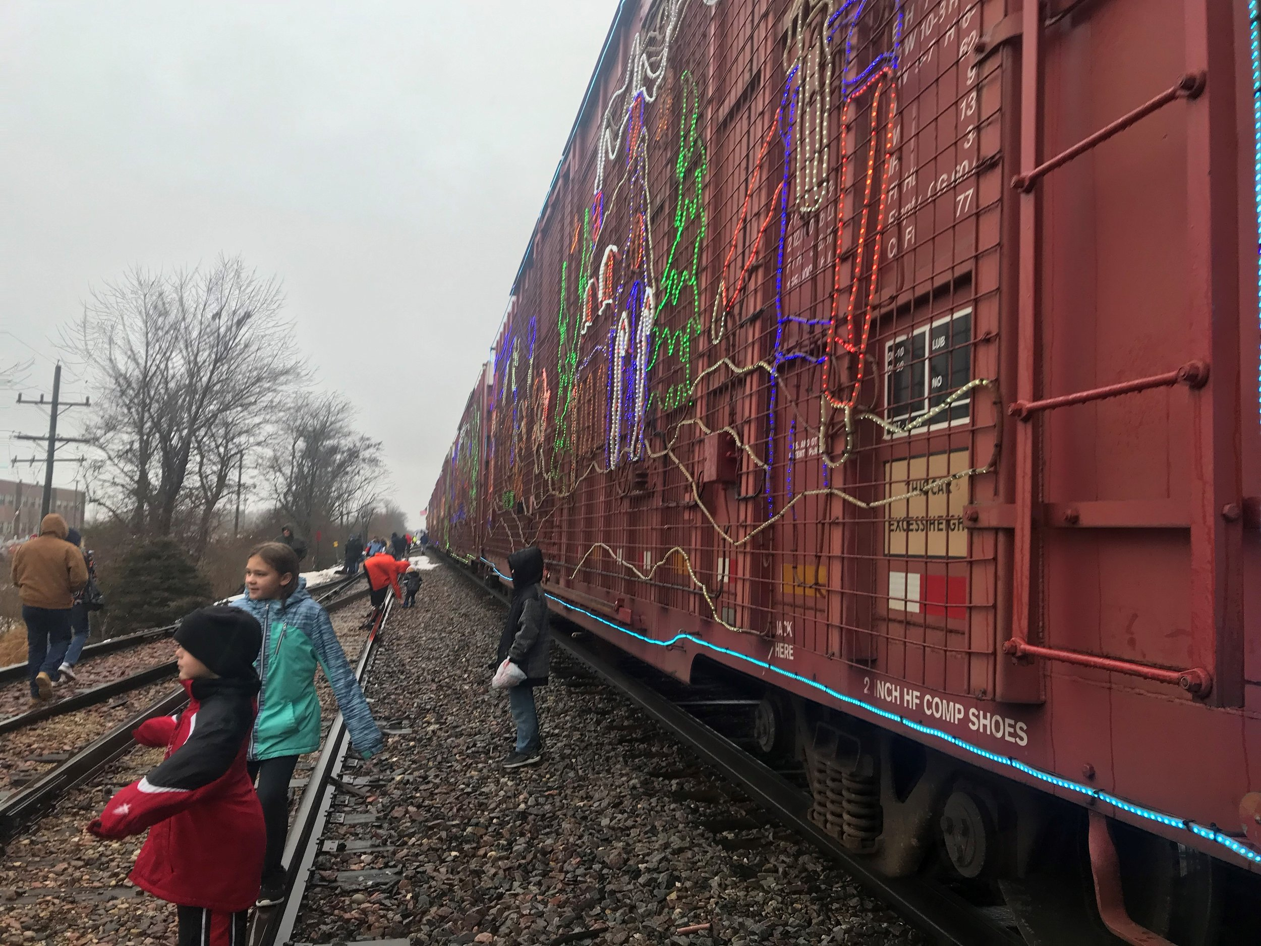 People in Byron got an up close look at the Christmas lights on CP's annual Holiday Train