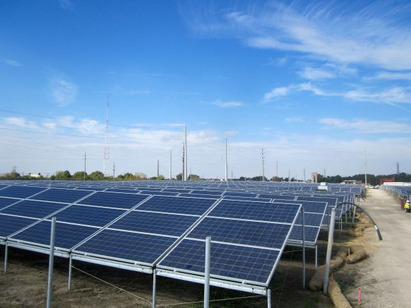 Beginnings of an enormous solar power installation in Champaign County (photo courtesy of Jim Meadows/WILL)