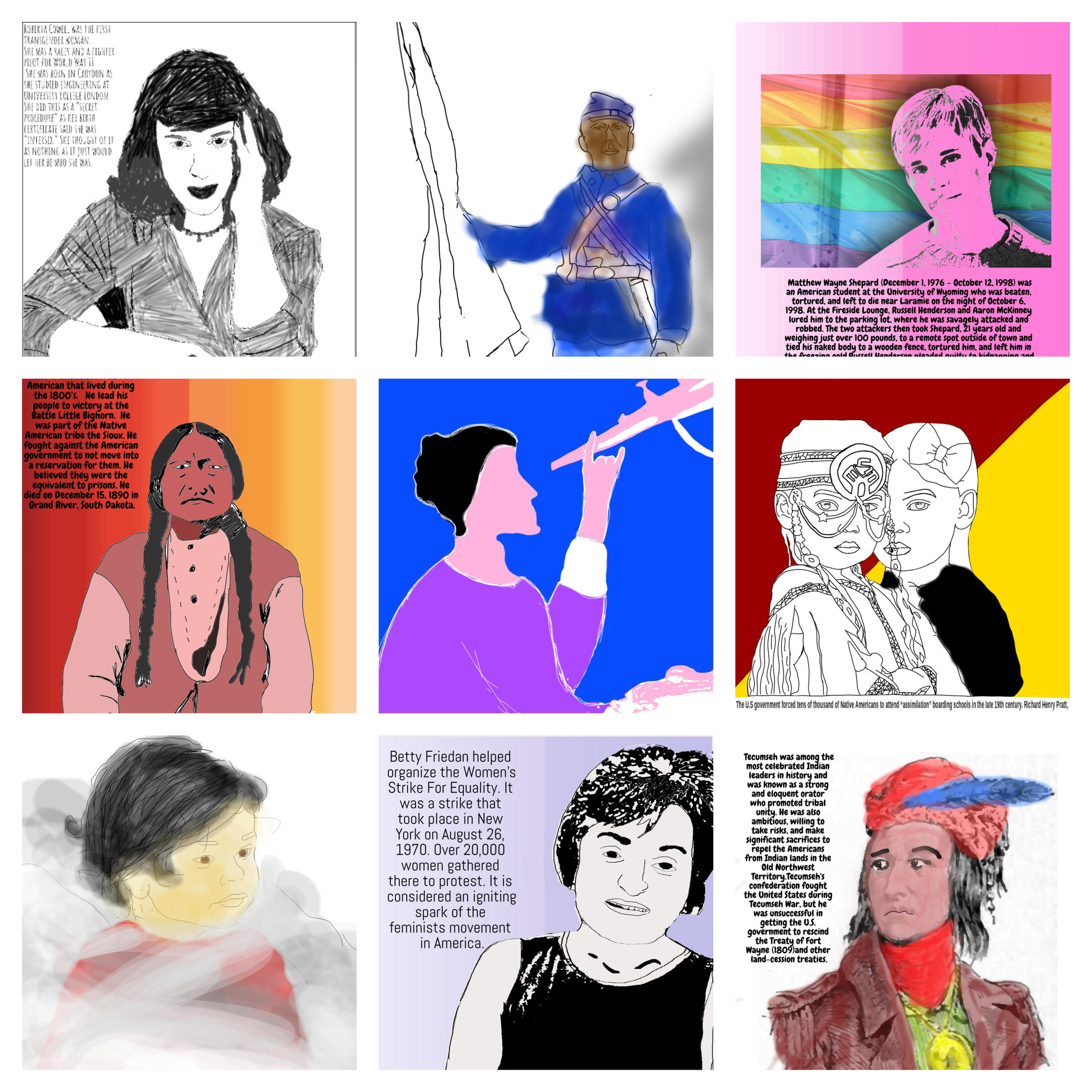 A collection of the posters students created to highlight historic injustices