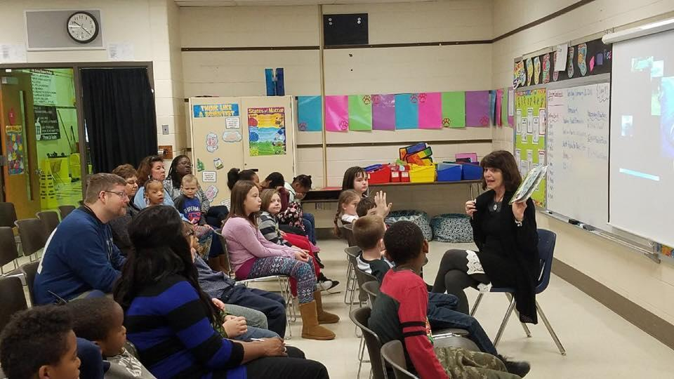 State Rep. Sue Scherer (D-Decatur), a former teacher, on a recent visit to a school ( Sue Scherer / Facebook)