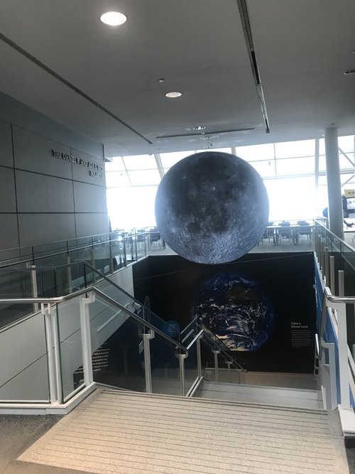 A massive moon globe gives visitors to the Adler Planetarium unique views of the lunar surface