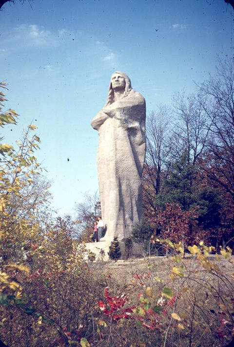 "While Lorado Taft's ""Eternal Indian"" is currently wrapped in plastic awaiting repair a team of leaders in Oregon, IL hope to restore it to the splendor in this photo (photo courtesy of Blackhawk Restoration Team)"