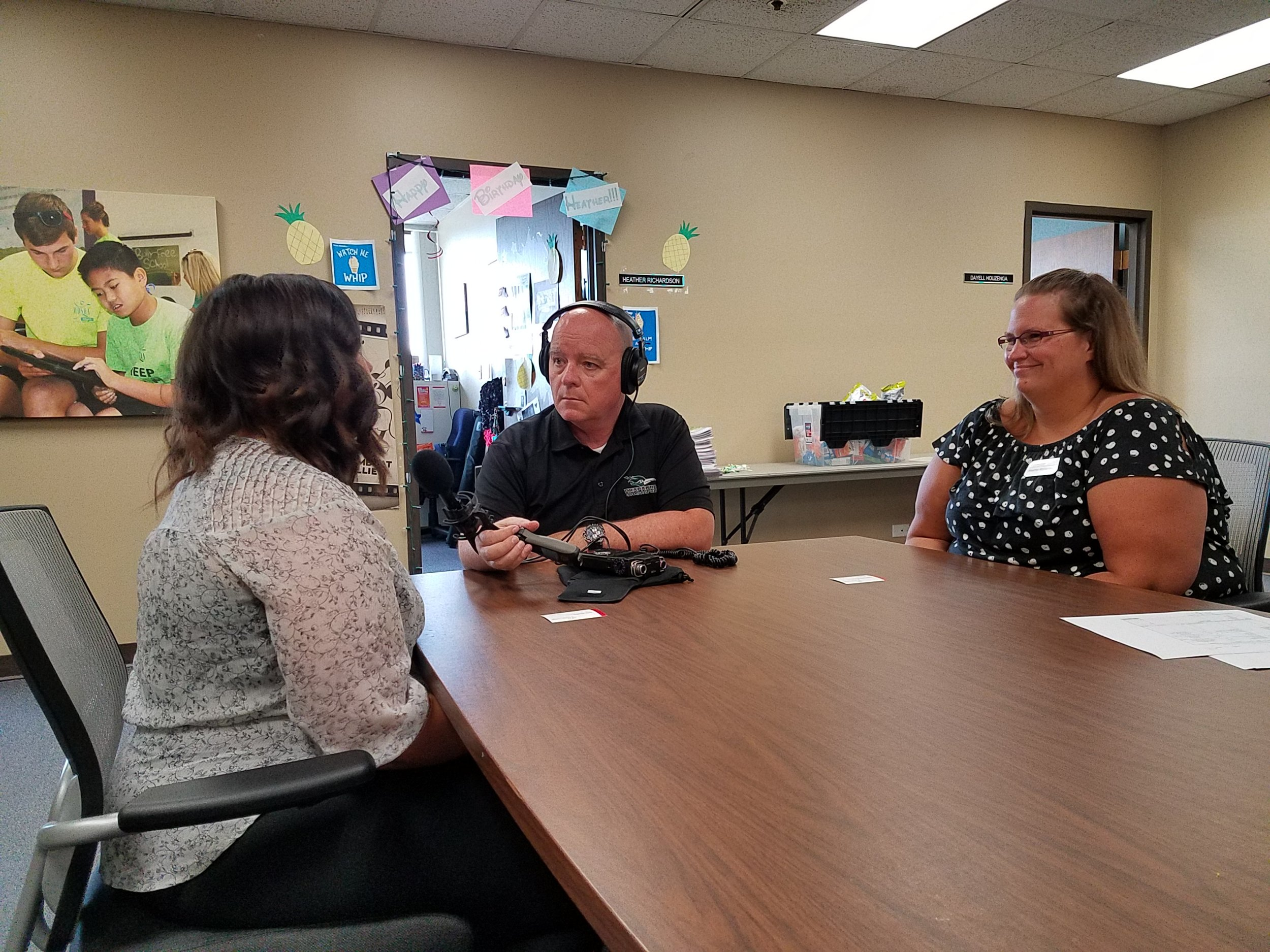 Western DuPage Special Recreation Association's Katie Weadly (left) and Heather Richardson (right) talked with First Light host Brian O'Keefe for this month's 'Doing Good' segment