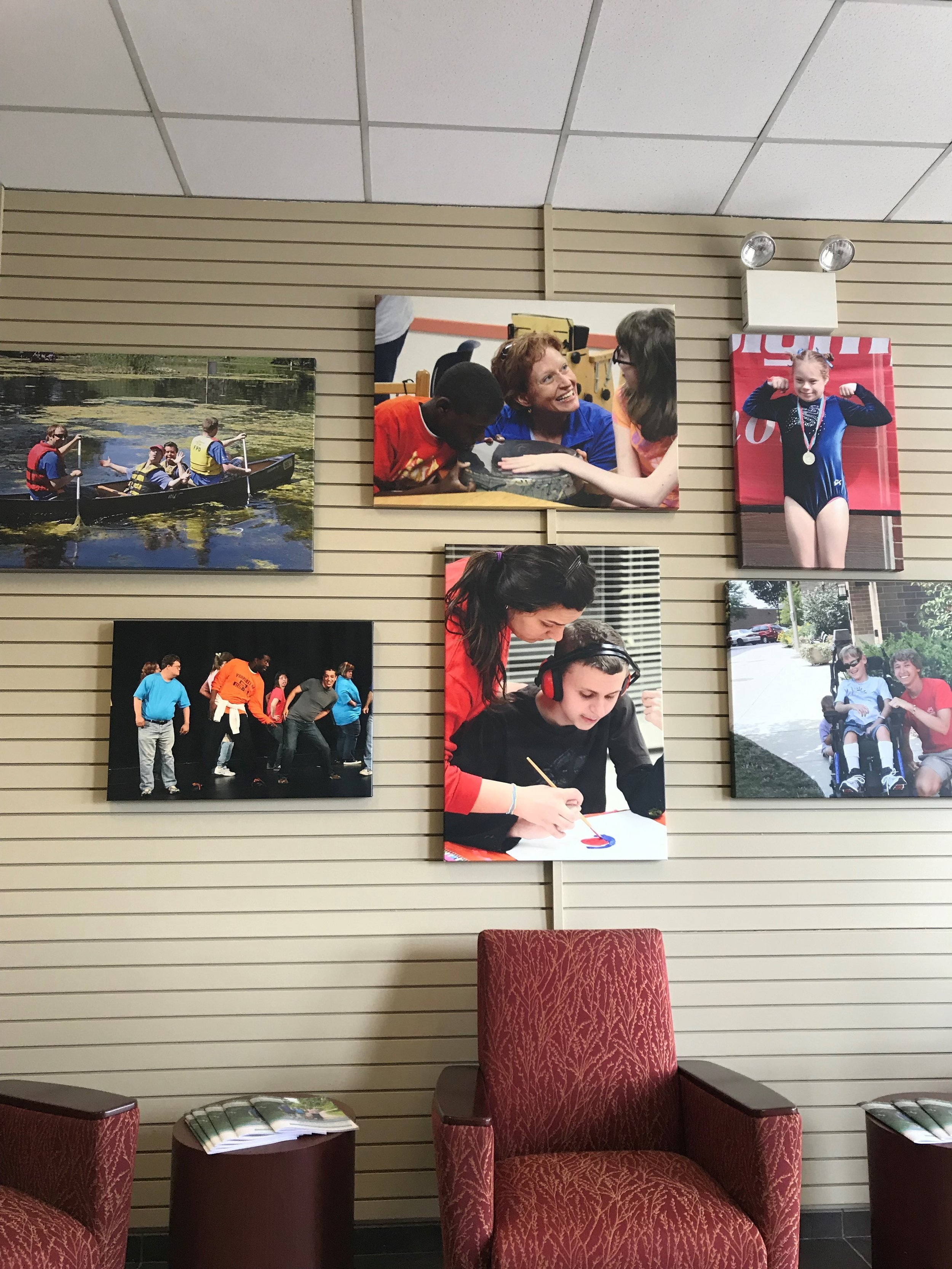 Photos of the various activities WDSRA offers welcome visitors to the agency's Carol Stream office