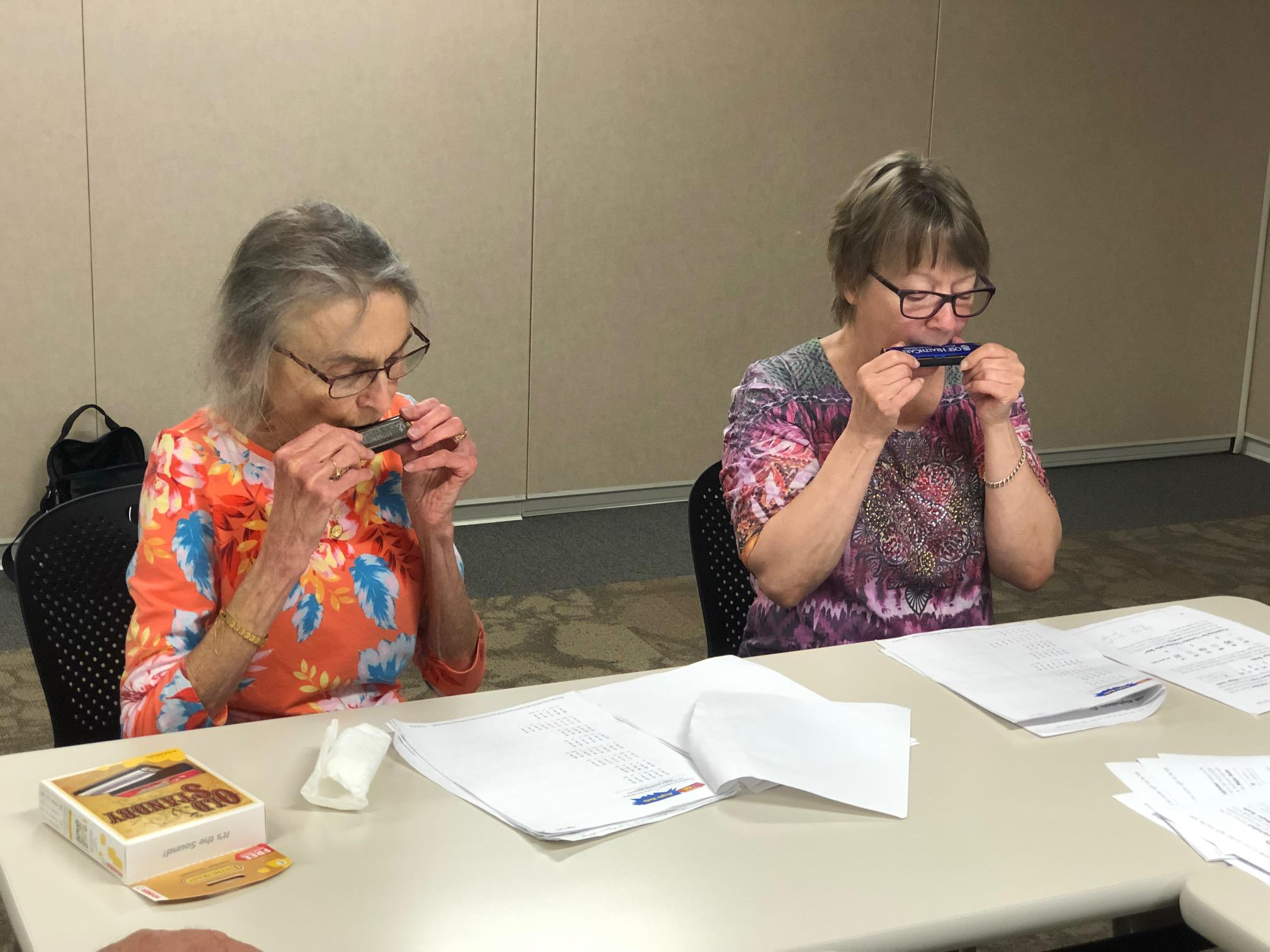 Lynn Scott of Bloomington (left) says she enjoys being with others who have breathing problems. Mary Jo Bragg of Lexington (right) attended her second session. (photos courtesy of OSF St. Joseph Medical Center)