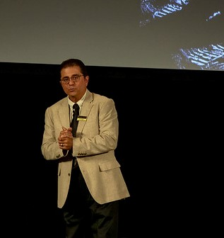 COD Astronomy professor Joe DalSanto led a discussion of the Apollo 11 mission during a 50th anniversary celebration