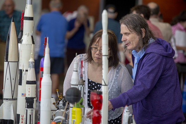 The Apollo 11 50th anniversary celebration at College of DuPage included a display of model rockets