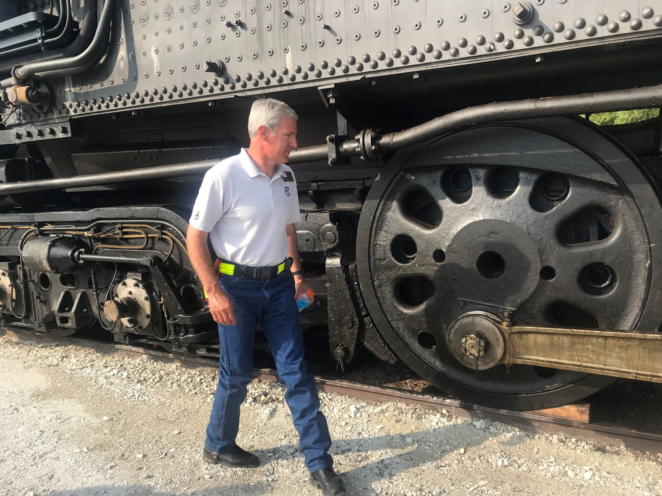 Ed Dickens takes a closer look at the locomotive he helped to restore, and for scale, those wheels are close to five feet in diameter