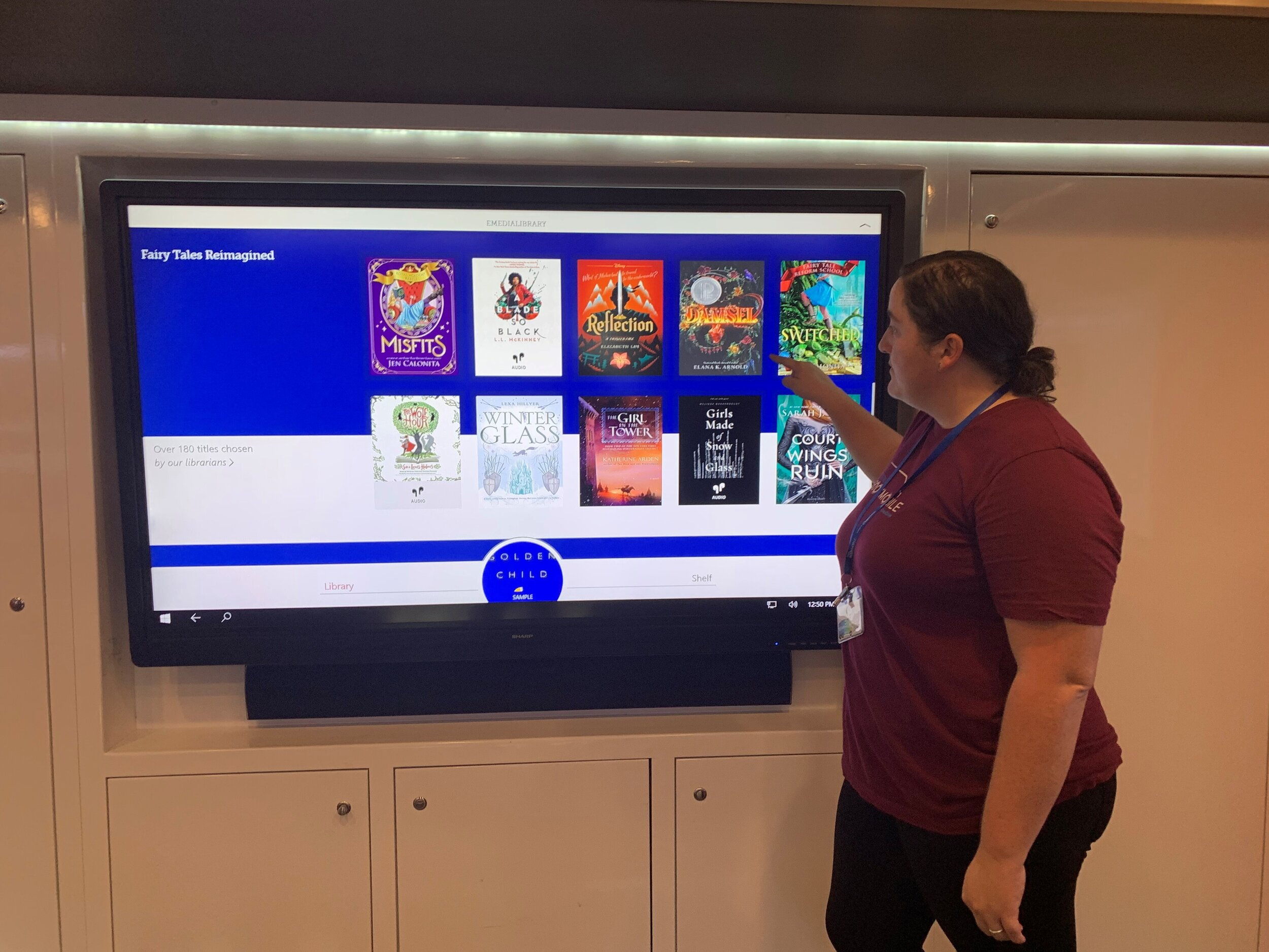 Overdrive digital book specialist Marissa Gillett demonstrates how library users can access e-books and electronic audiobooks through the 'Libby' ap