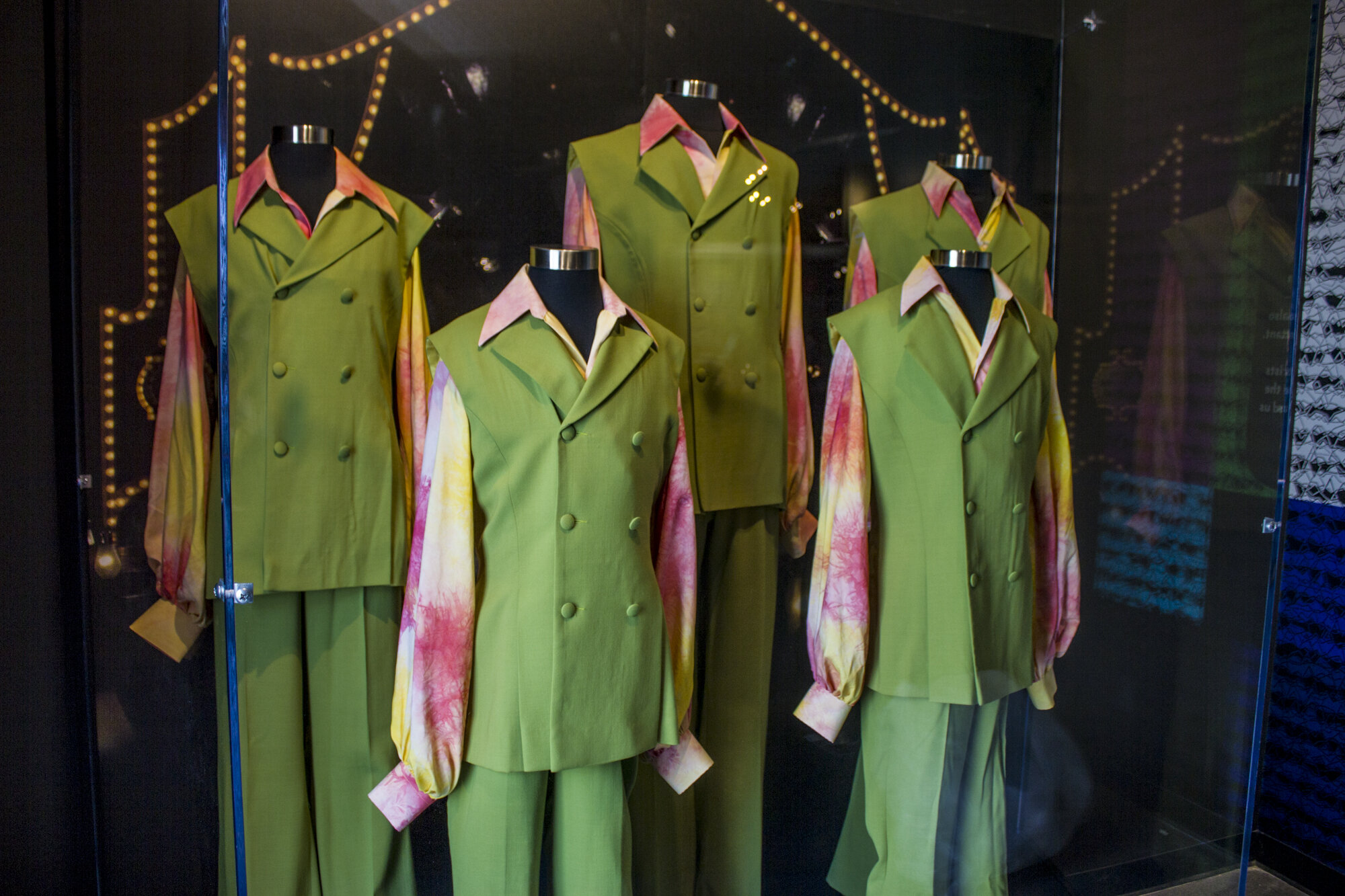The matching suits worn by the Jackson 5 for their first TV appearance are part of the Museum of Broadcast Communications 'Stay Tuned: Rock on TV' exhibit (photo courtesy of the Museum of Broadcast Communications)