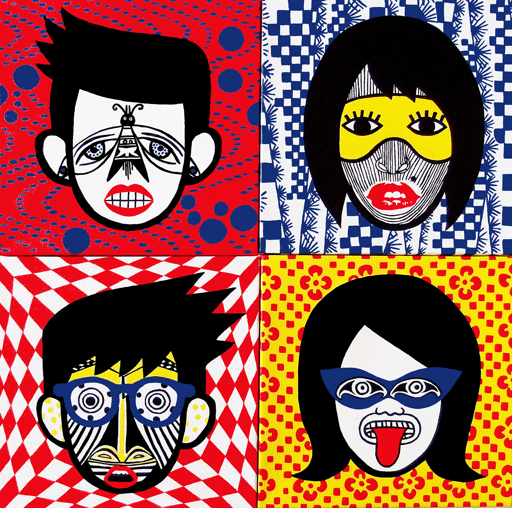 """Acrylic on stretched canvas, 4 HEADS,  4x 10"""" x 10""""x 1,5"""", NORTH AMERICAN INDIAN-JAPAN, CAMEROON-MARILYN- JAPAN    BAKUBA-ZAIRE, AZTEC-JAPAN"""