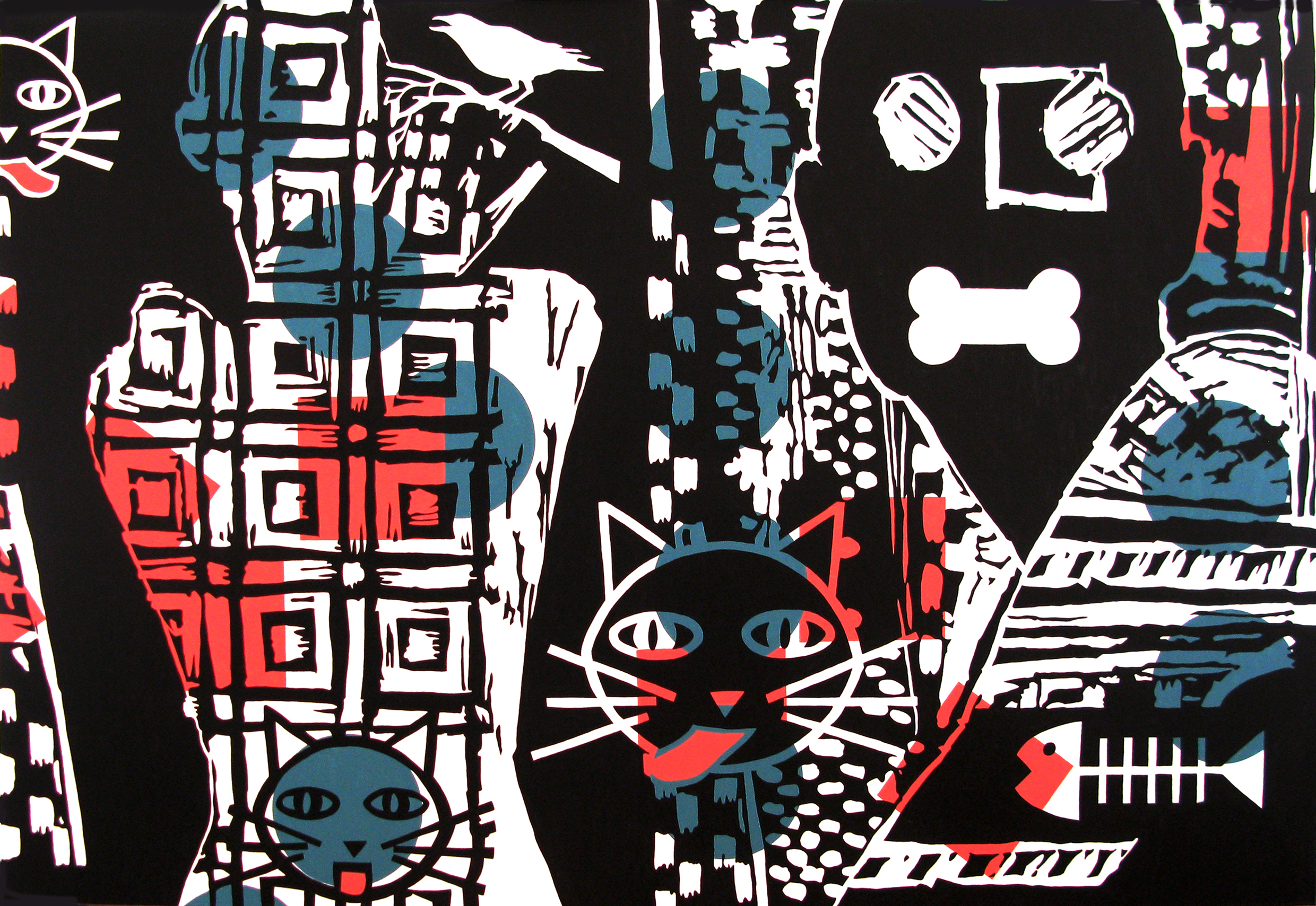 """Acrylic on stretched canvas, CAT AND DOG, 48"""" x 72"""""""