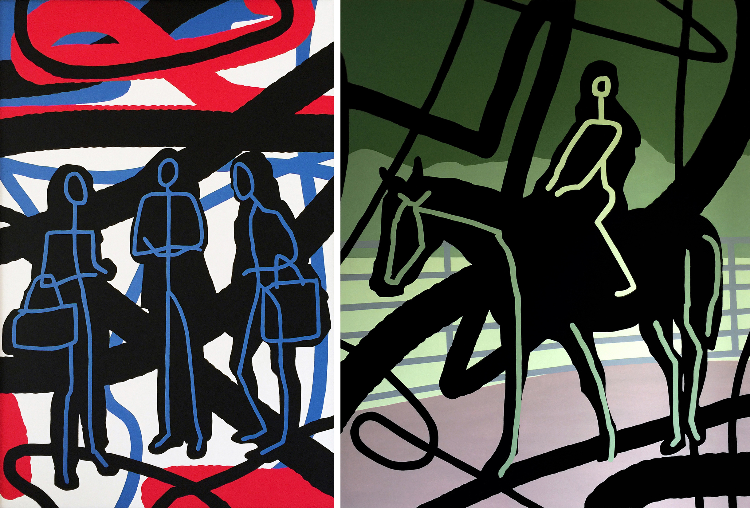 """Acrylic on stretched canvas, SHOPPING, 48"""" x 72""""                     Acrylic on stretched canvas,  HORSE RIDER, 40"""" x 60"""""""