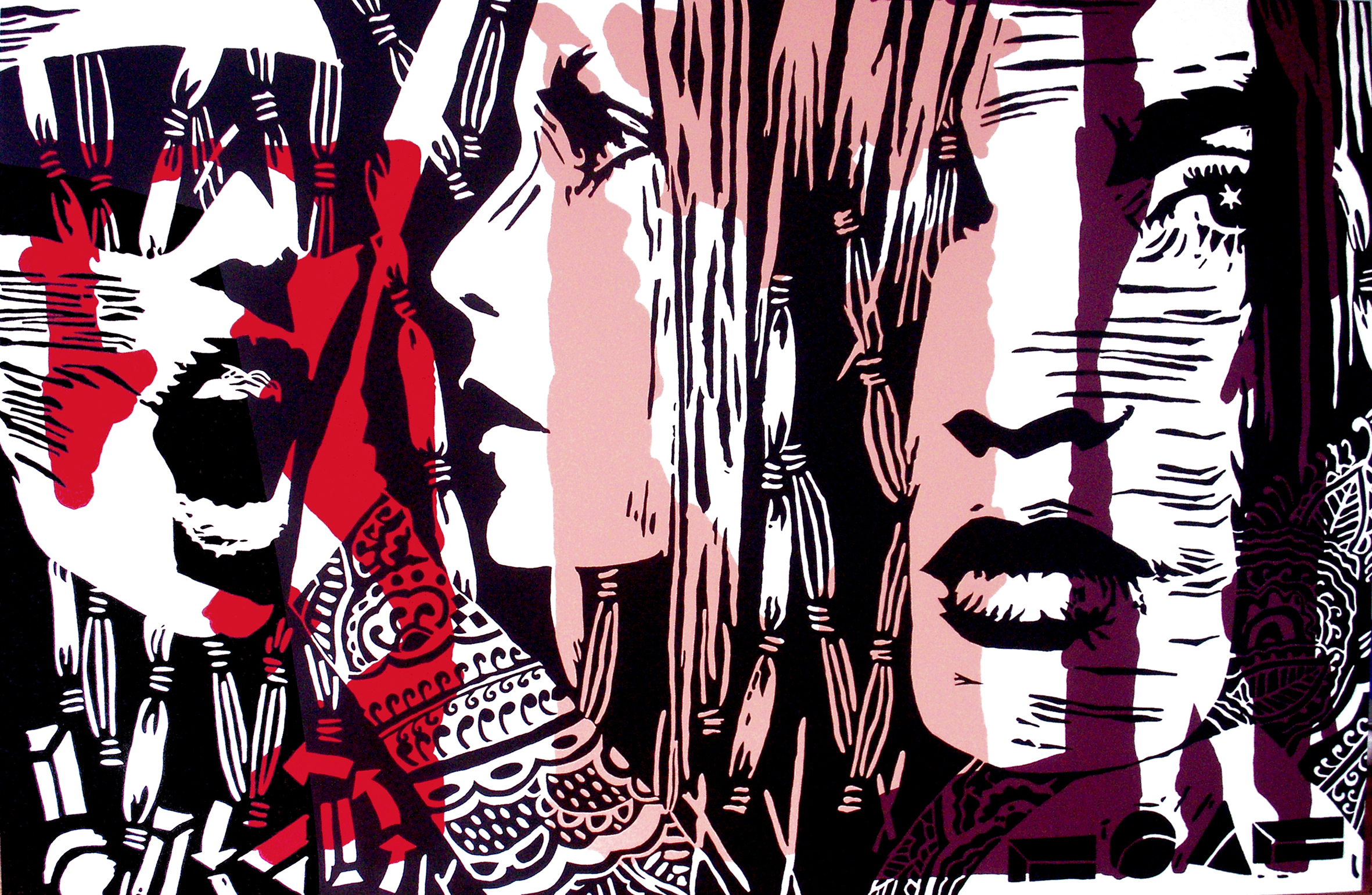 "Acrylic on stretched canvas, SCREAM, 48"" x 72"""
