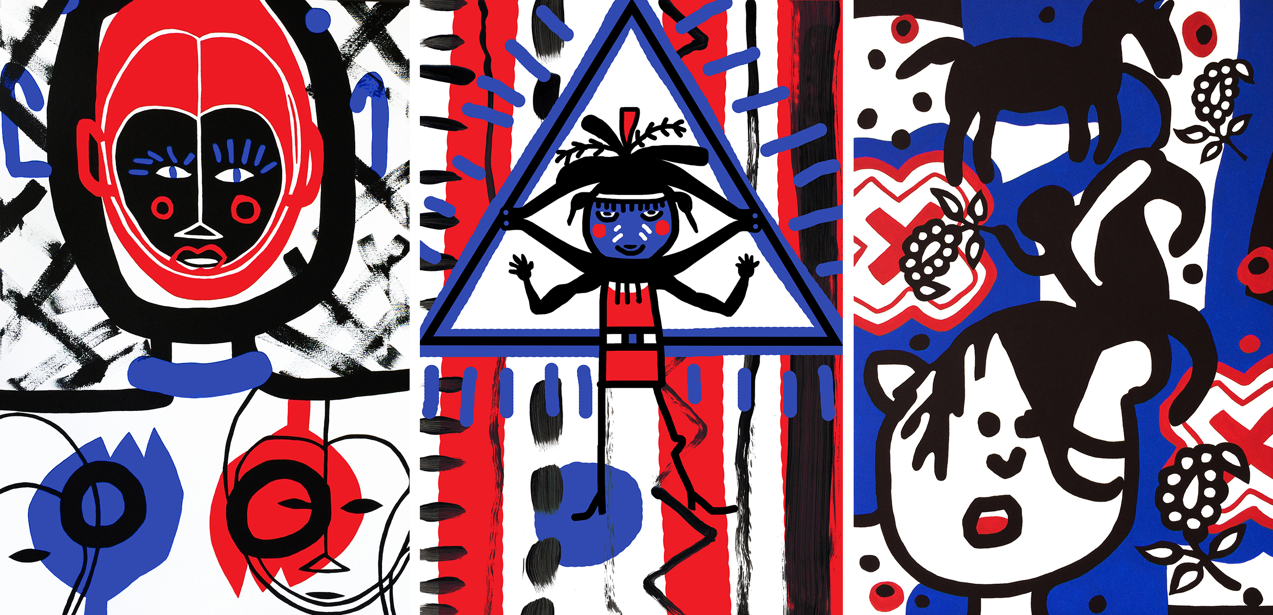 """Acrylic on stretched canvas                  Acrylic on stretched canvas                       Acrylic on stretched canvas    AFRICAN MASK, 24"""" x 36"""",                    NATIVE AMERICAN AND GOD, 24"""" x 36"""",            HORSE INDIA, 24"""" x 36"""""""
