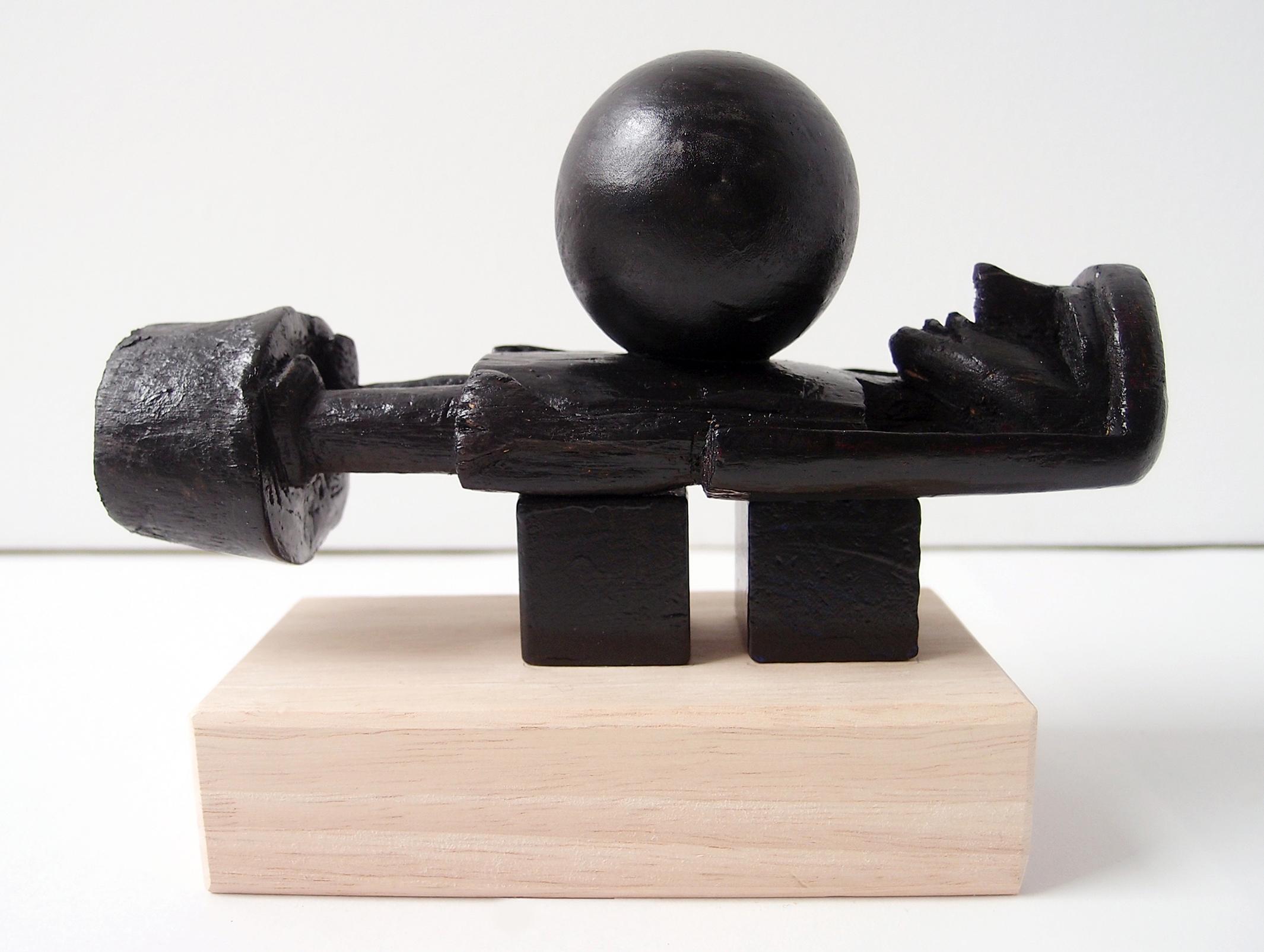 """a ball on a fakir, wood, 7,25"""" x 5,5"""" x 2,75"""""""