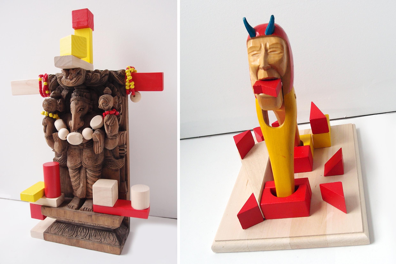 "Ganesh, God of new beginnings, wood, 16"" x 9"" x 3"" Devil Nutcracker, wood, 10,5"" x 10"" x 8"""
