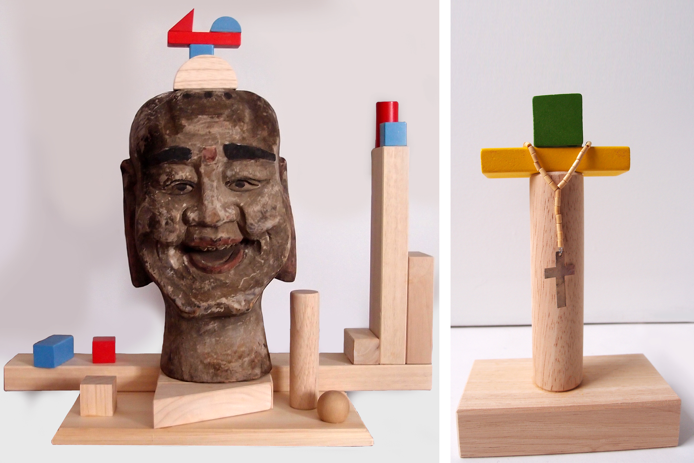 "Buddha, wood, 22"" x 20"" x 11"" Cross, wood, iron, 8,5"" x 5,5"" x 2,75"""