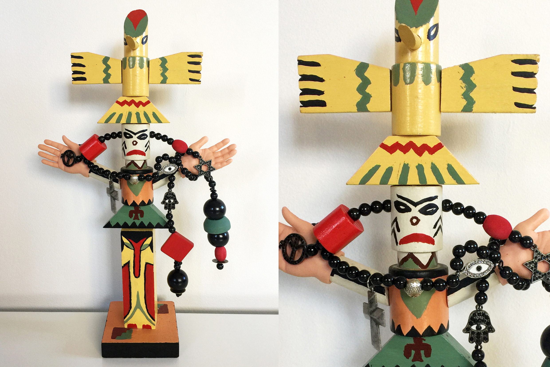 "Totem of peace, wood, iron, 15"" x 9"" x 4"""