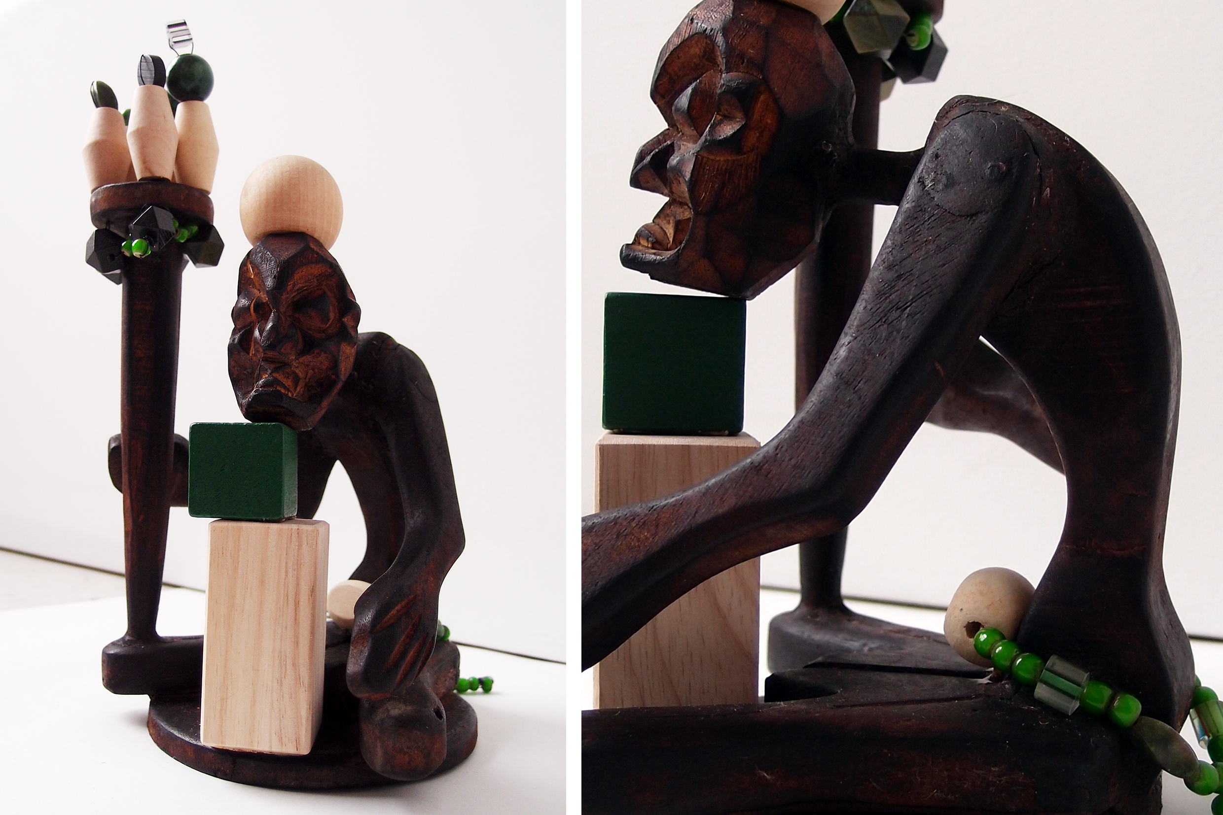 "the wise man, wood, beads, 10"" x 5"" x 4,5"""