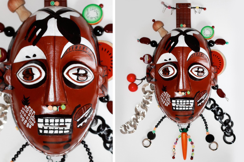 """Mask, God of Food, wood, iron, plastic, 23,5"""" x 13,5"""" x 5"""""""