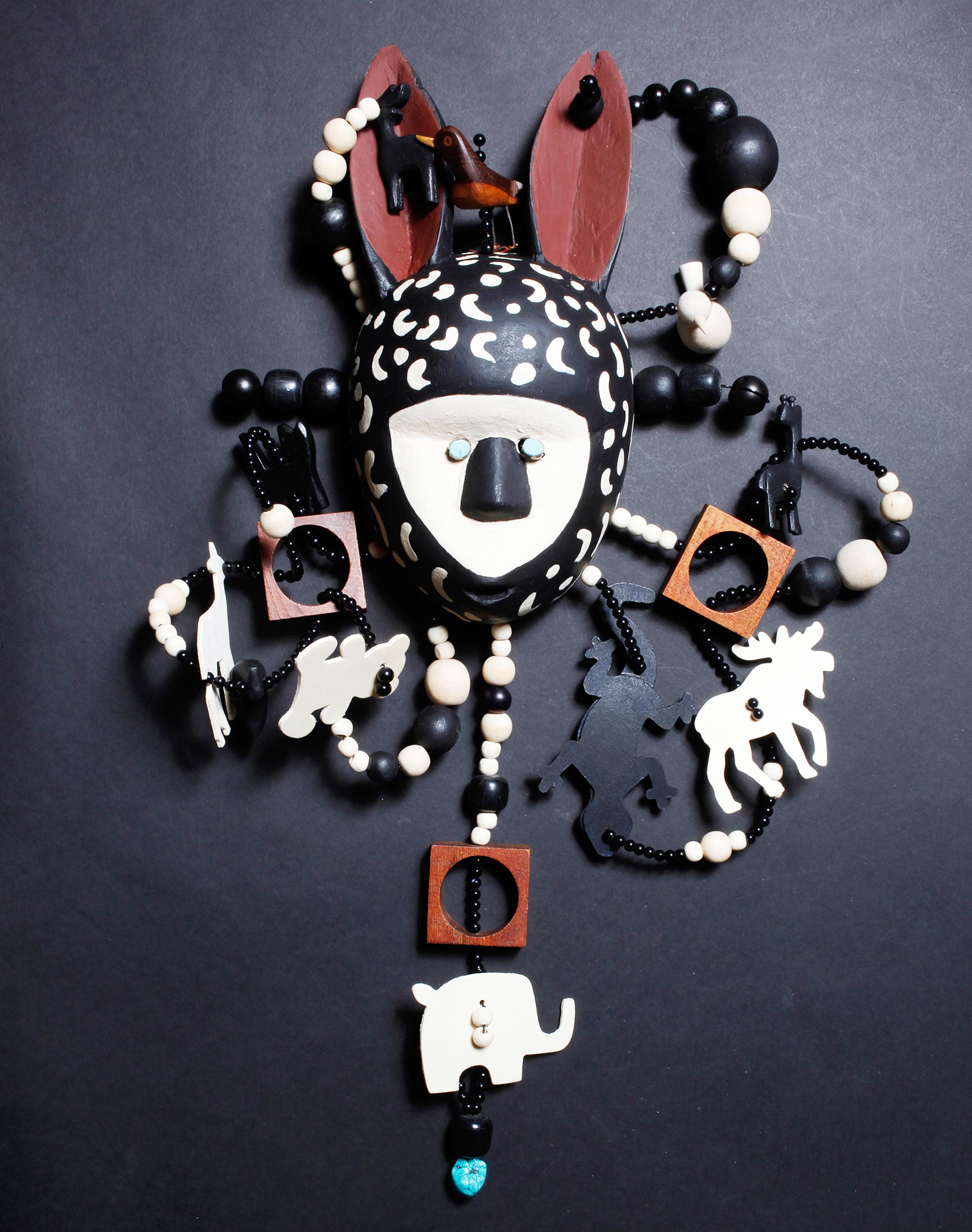"""Mask,God of Animals, wood, stones, 23"""" x 19"""" x 6"""""""