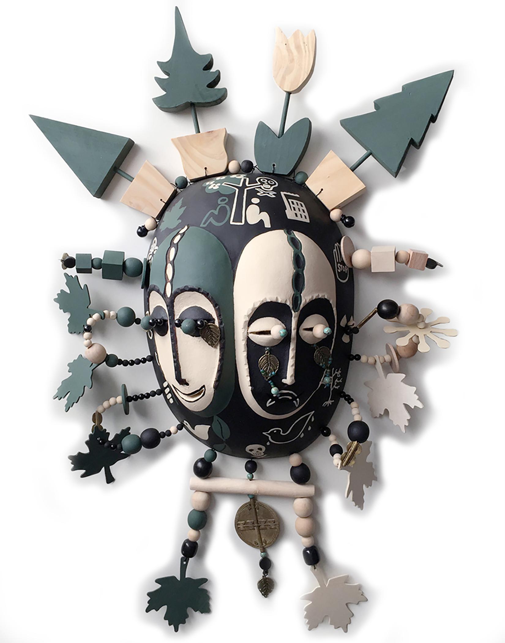 "Mask ,God of Green, wood, metal ,iron, 30"" x 22"" x 5"""