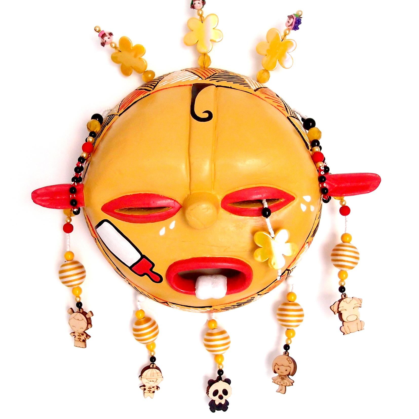 "Mask, God of Children, wood, plastic, beads, metal, 14"" x 11"" x 4"""
