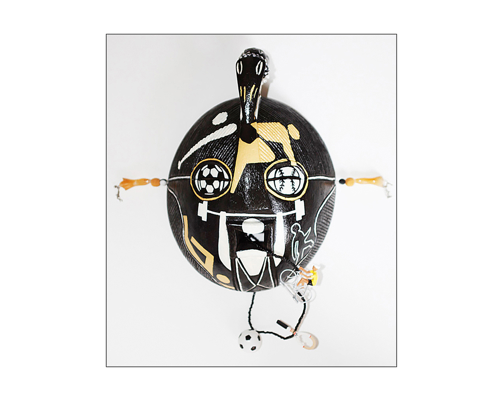 "Mask, God of Sports, wood, metal, beads, plastic, 16,5"" x 16"" x 7"""