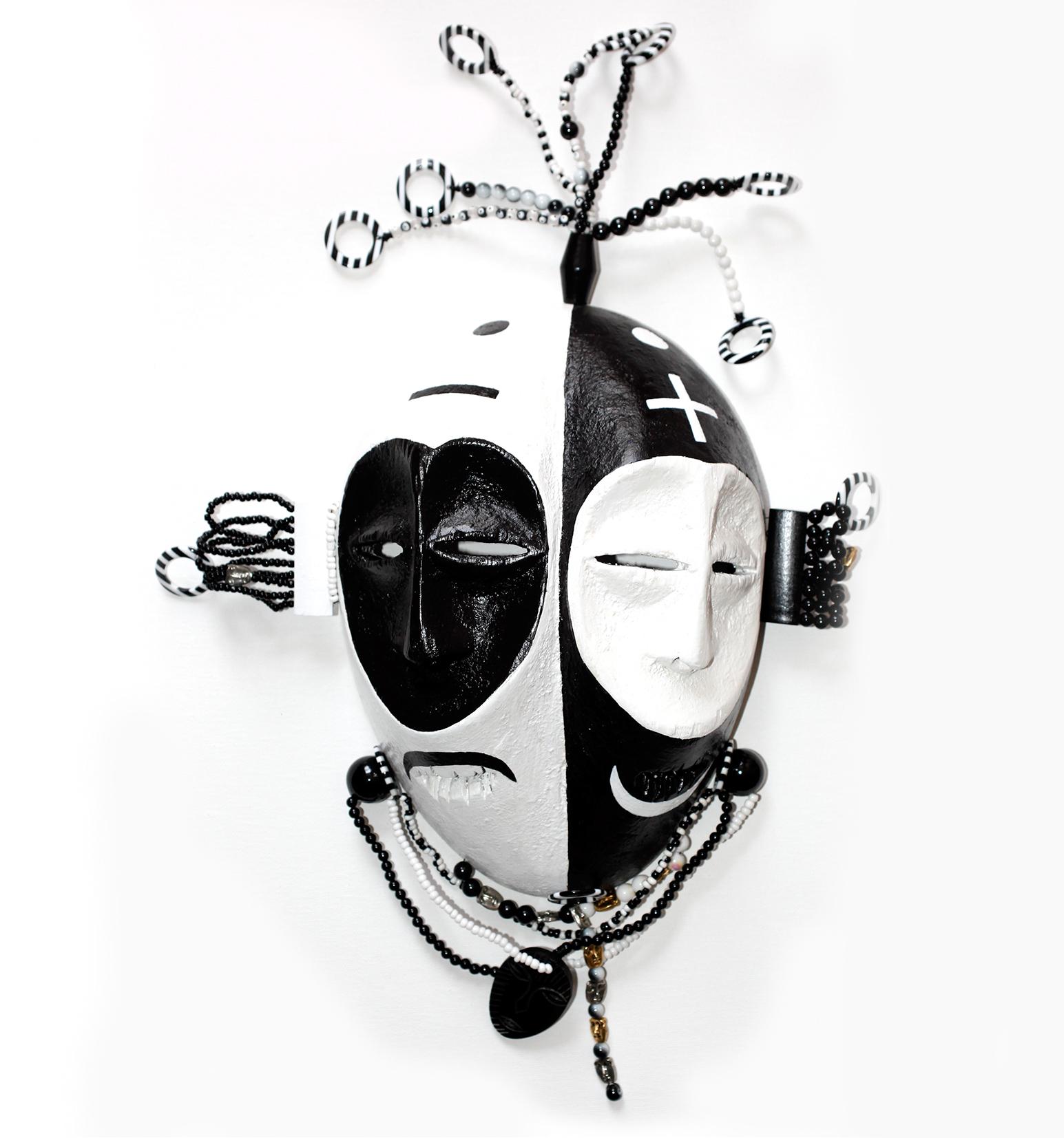 "Mask, God of Ambivalence, wood, plastic, metal, 24"" x 19"" x 6"""