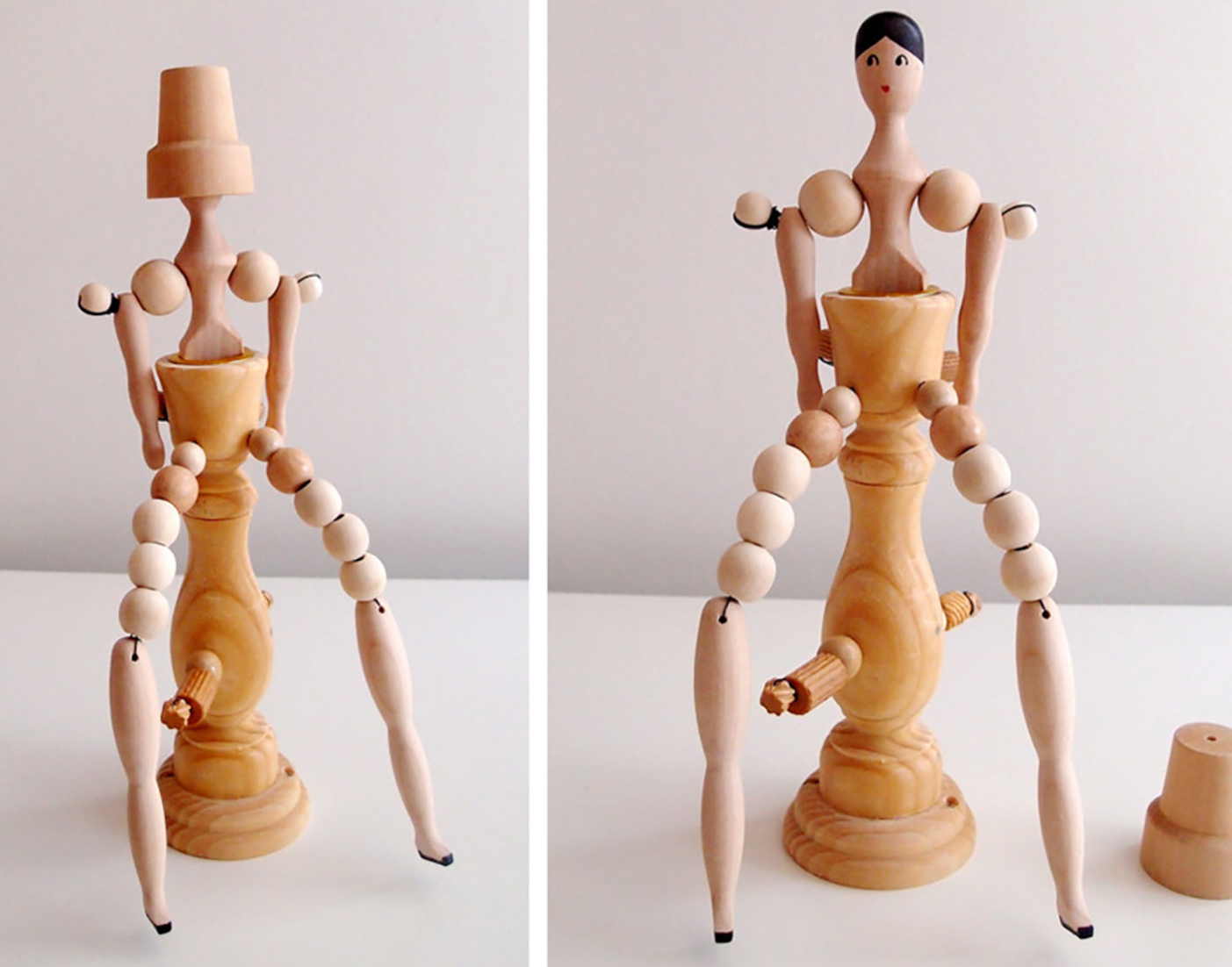 """Candle stick with a woman with long legs, wood, 11"""" x 5"""" x 4"""""""