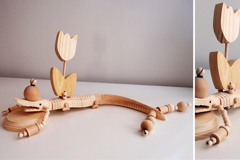 "A Tulip and a crocodile, wood, 18"" x 9"" x 5"""