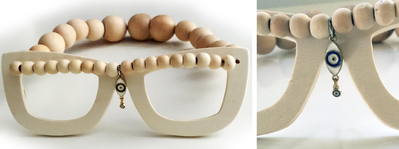 """Talisman Glasses, wood, iron, 7""""x 6"""" x 2"""""""