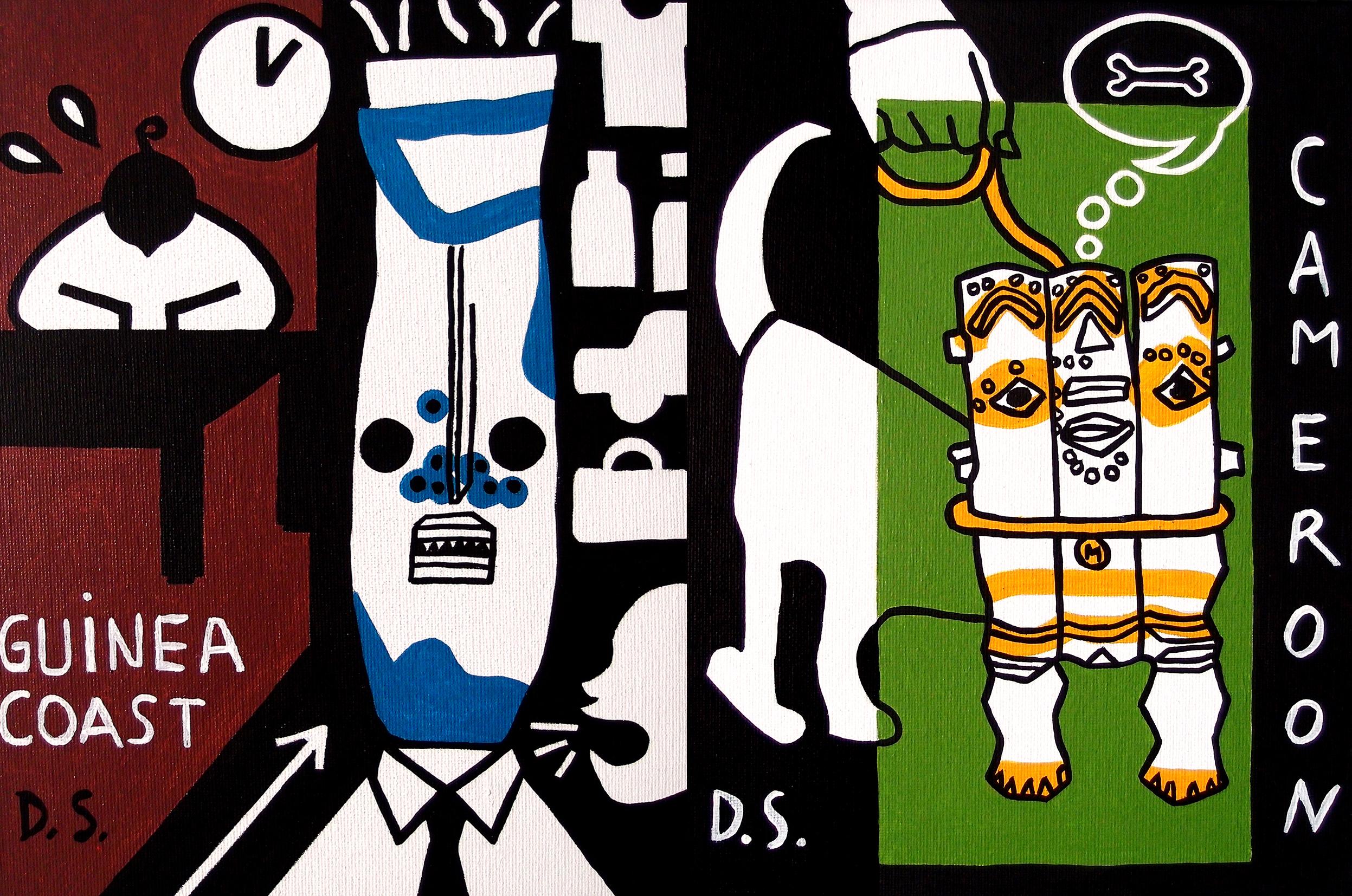 """Acrylic on canvas, GUINEA COAST, 9"""" x 12""""                                   Acrylic on canvas, CAMEROON, 9"""" x 12"""""""