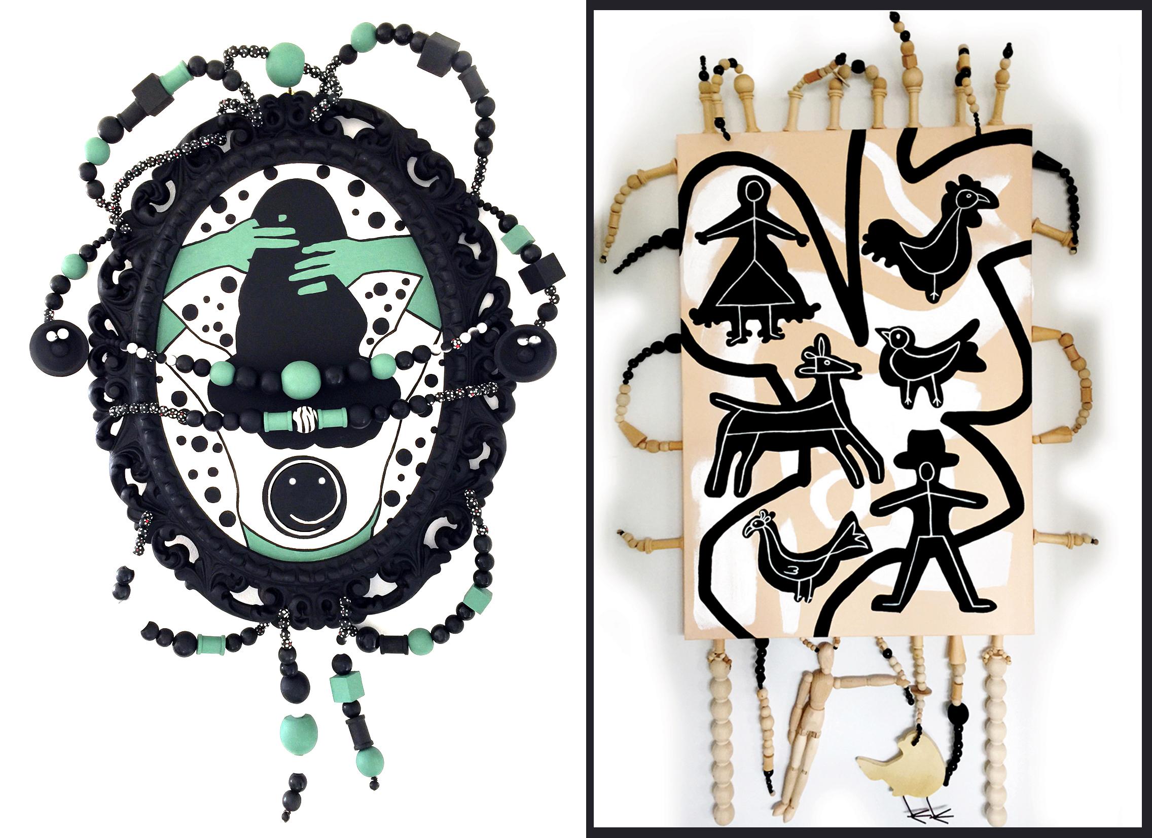 "Acrylic on canvas, wood frame, beads, PORTRAIT, 28"" x 20""x 2""                   Acrylic on canvas, wood, beads, COOKIE CUTTERS, 60"" x 33"" x 2"""