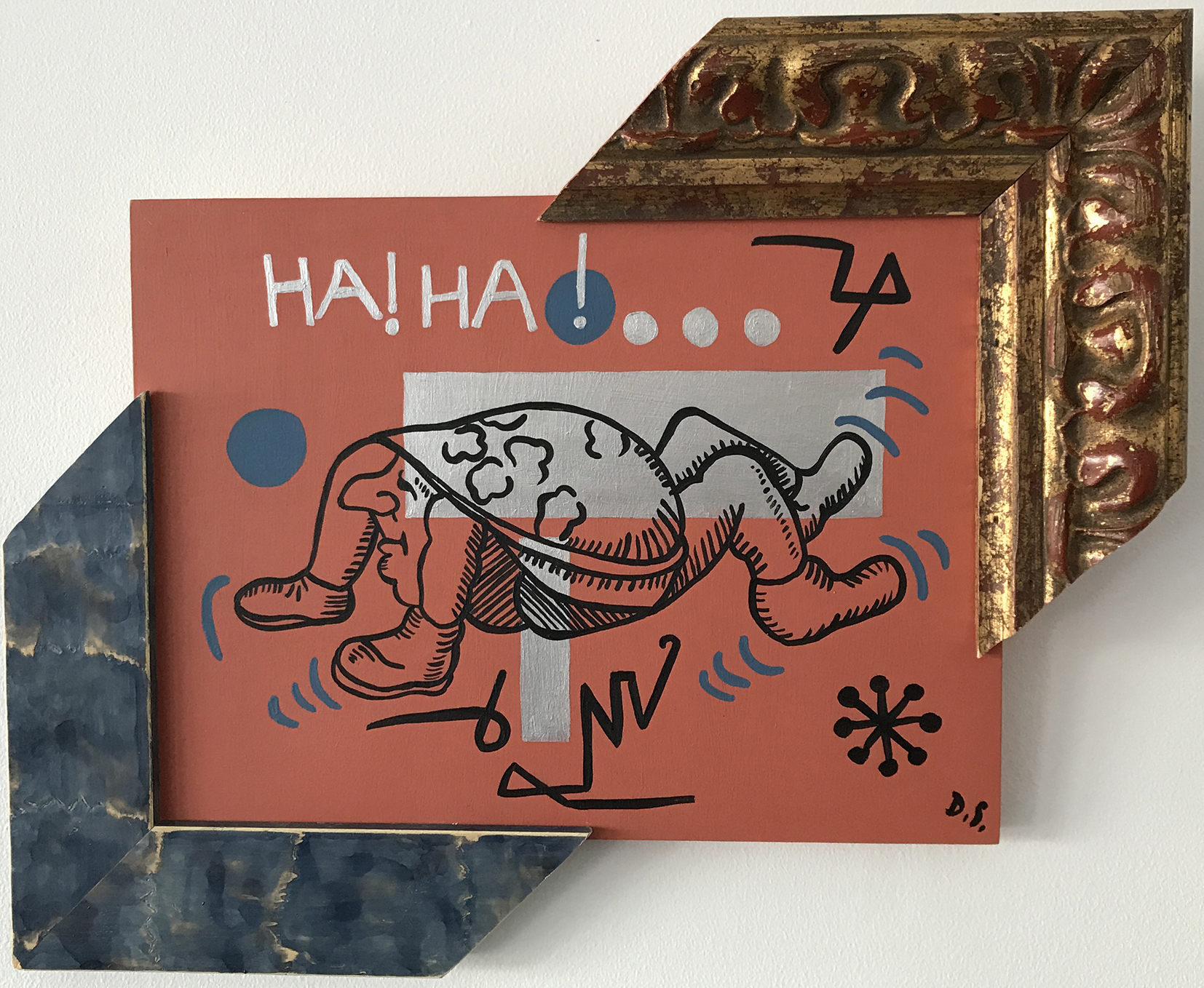 """Creature,  Acrylic on Wood, painting with frames, 13,5"""" x 16,2"""" x 2,2"""""""