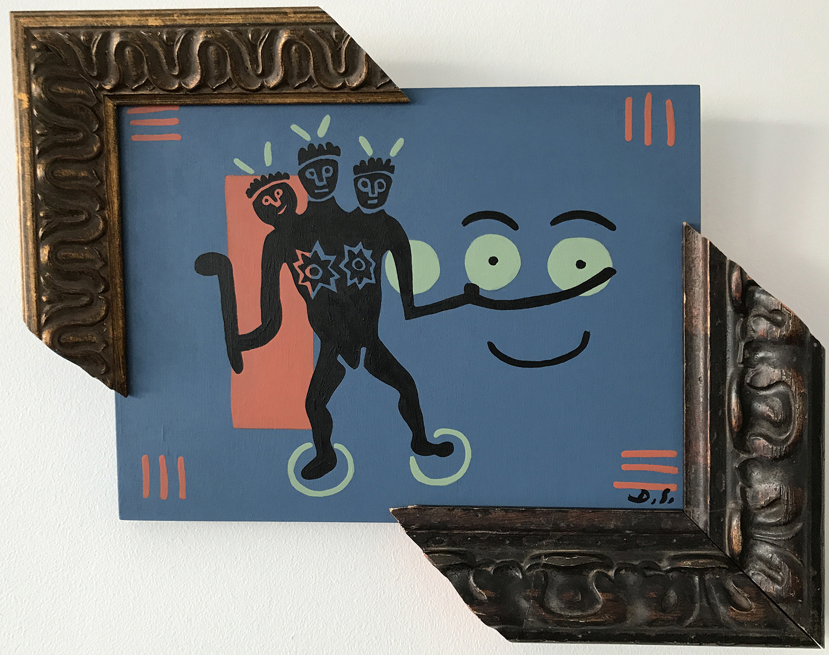 """Warriors,Acrylic on Wood, painting with frames, 13,3"""" x 16,2"""" x 2"""""""