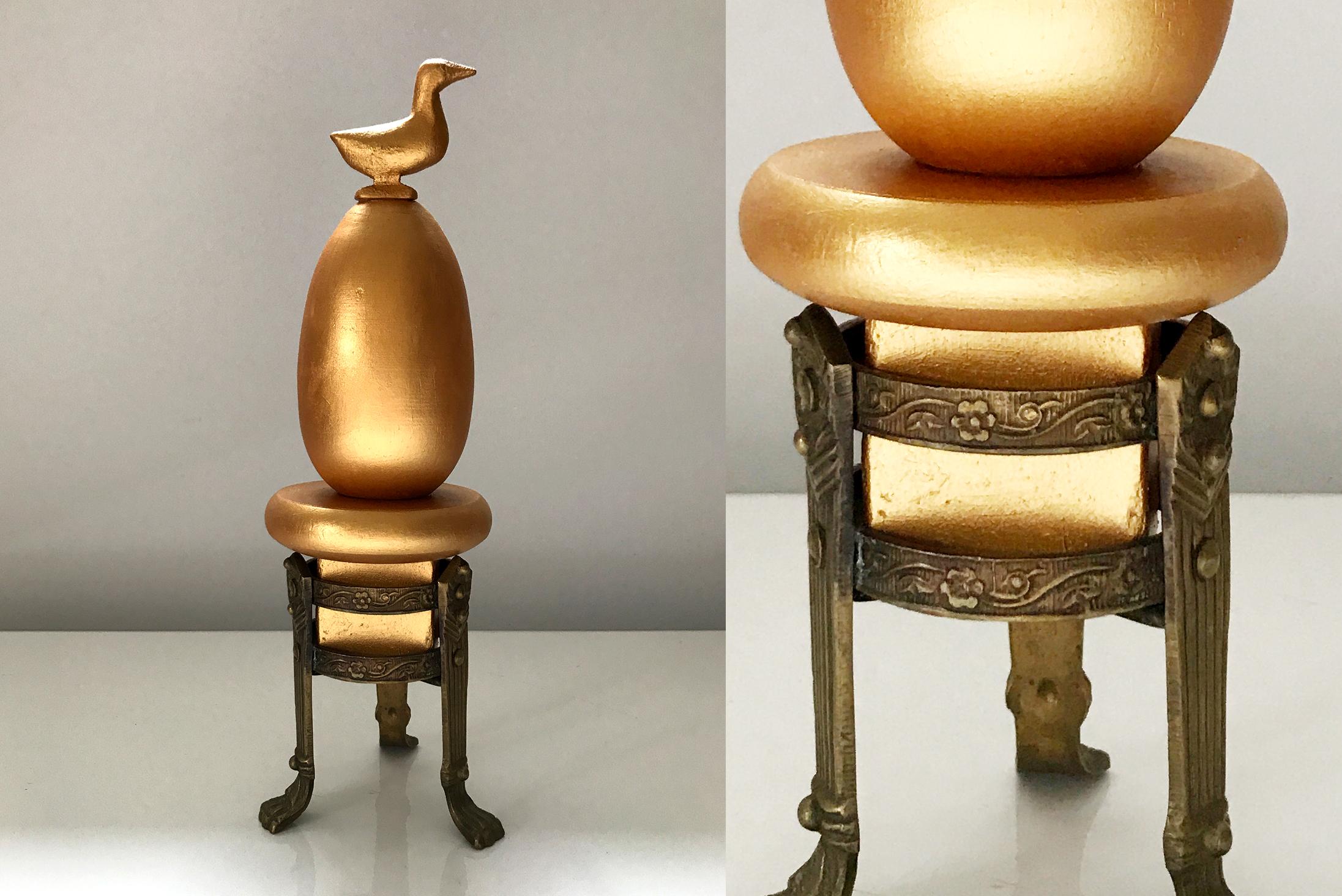 "Wood, Bronze, egg cup, 10"" x 3,2"" x 3,2"""
