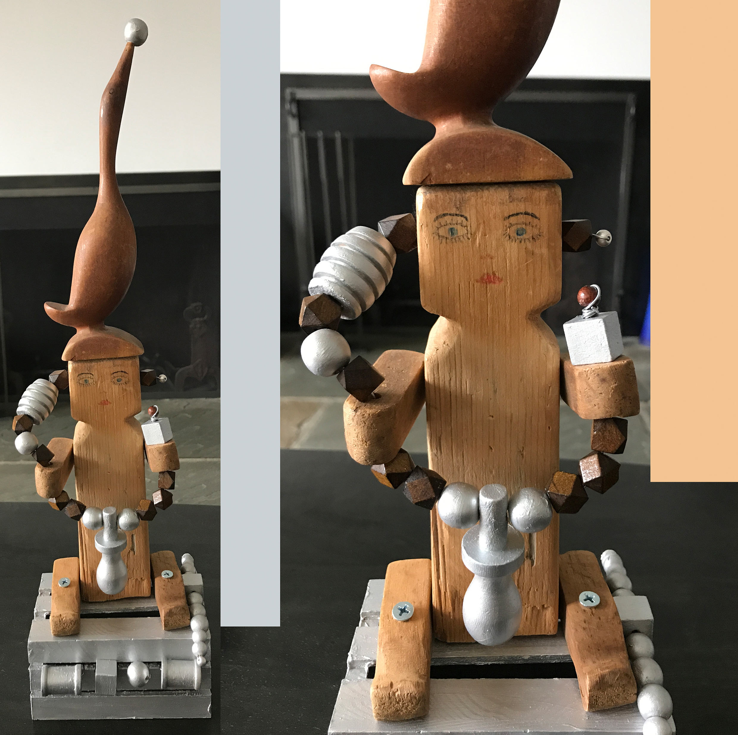 """Doll with bird and tools, Wood, iron, 8"""" x 5,1"""" x 4,3"""""""